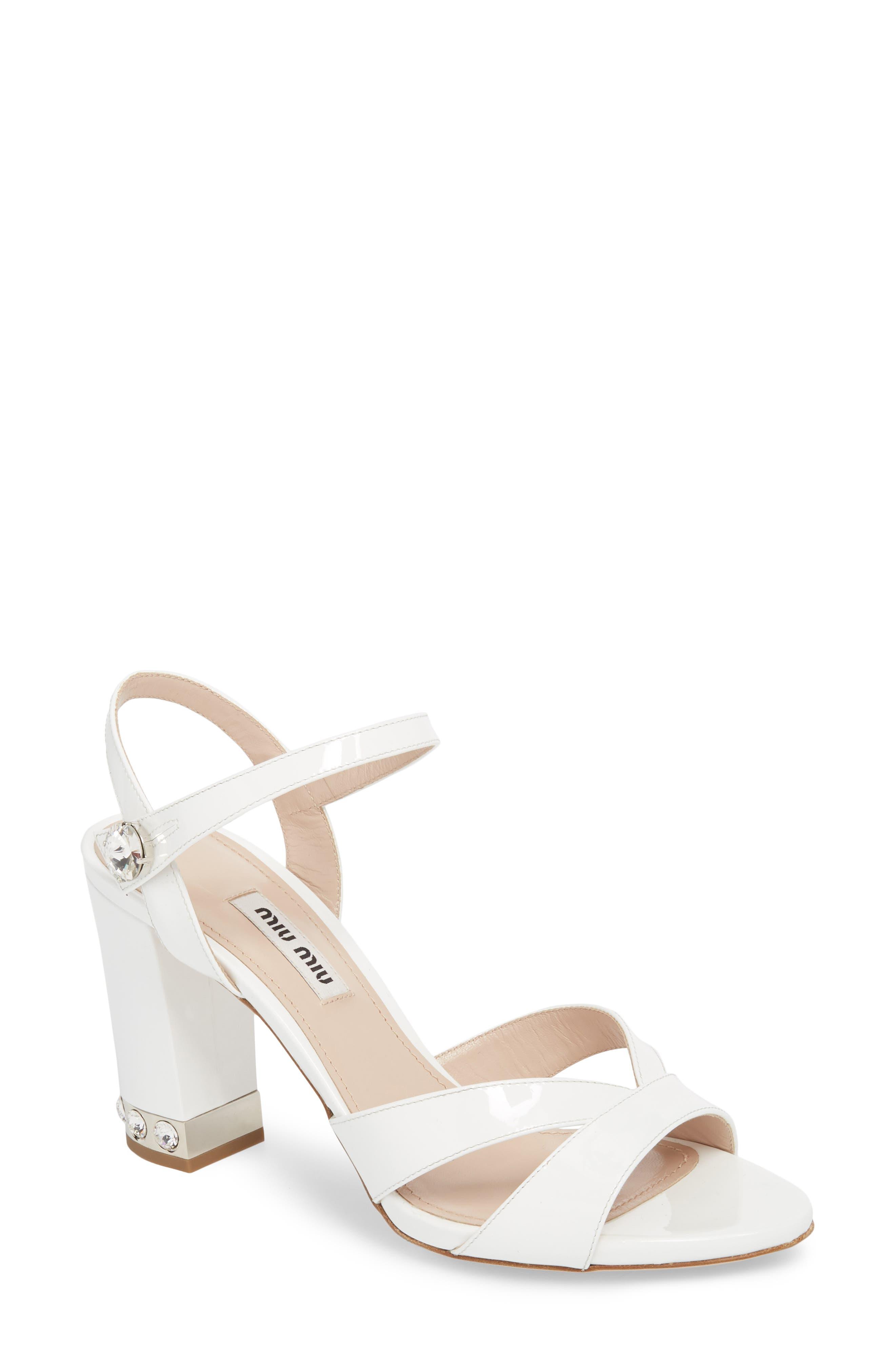 Miu Miu Jeweled Heel Sandal (Women)