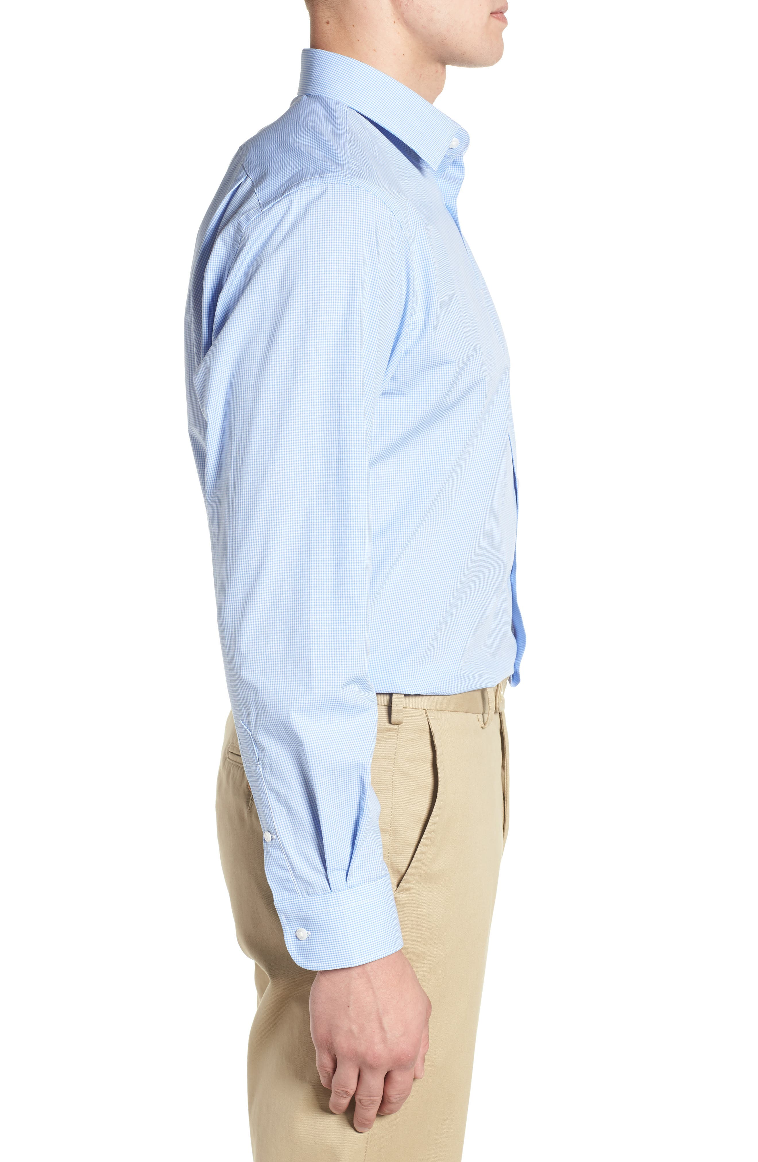 Traditional Fit Check Dress Shirt,                             Alternate thumbnail 4, color,                             Blue Cornflower