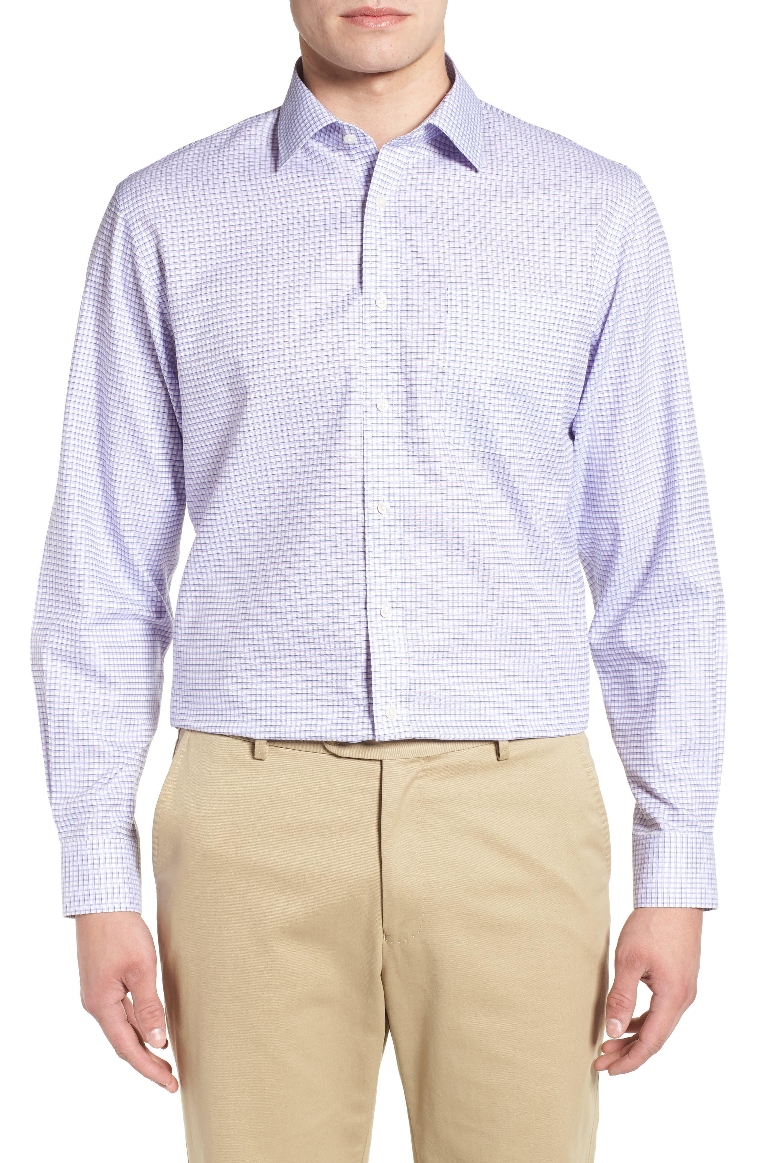 Smartcare<sup>™</sup> Traditional Fit Check Sport Shirt,                         Main,                         color, Purple Dahlia