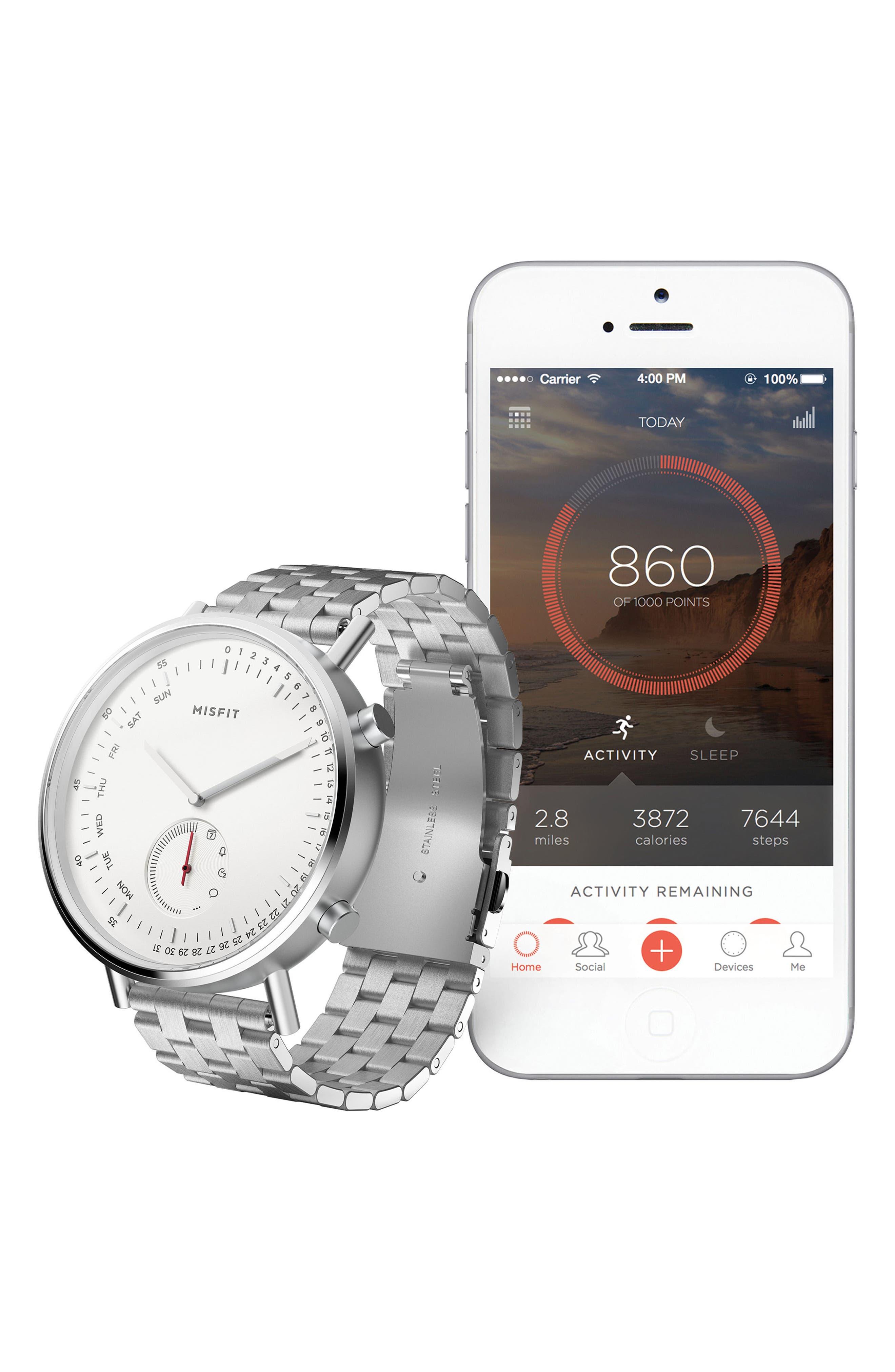 Command Hybrid Bracelet Smart Watch, 44mm,                             Alternate thumbnail 2, color,                             Silver/ White/ Silver
