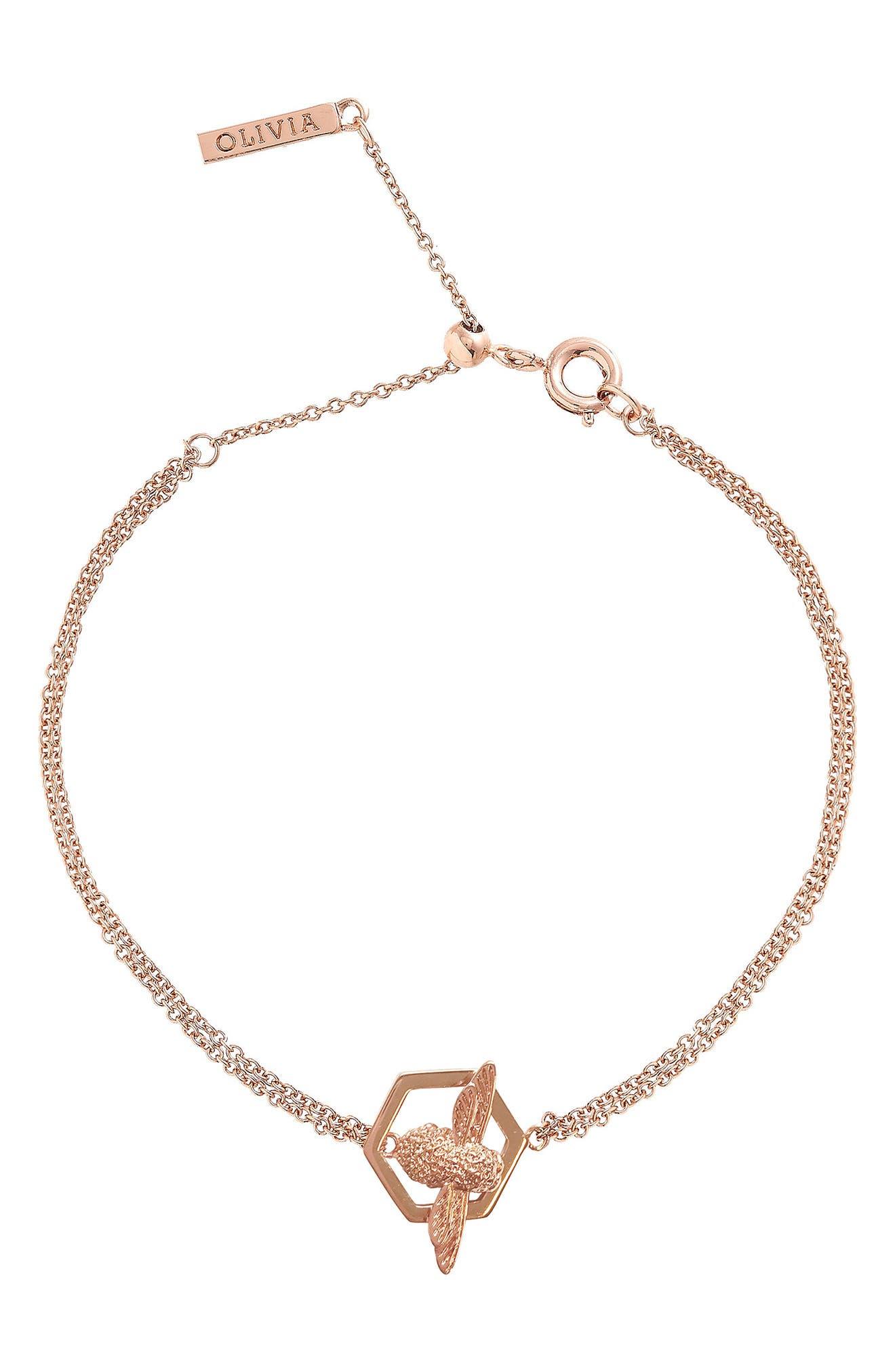 Honeycomb Bee Chain Bracelet,                             Alternate thumbnail 2, color,                             Rose Gold