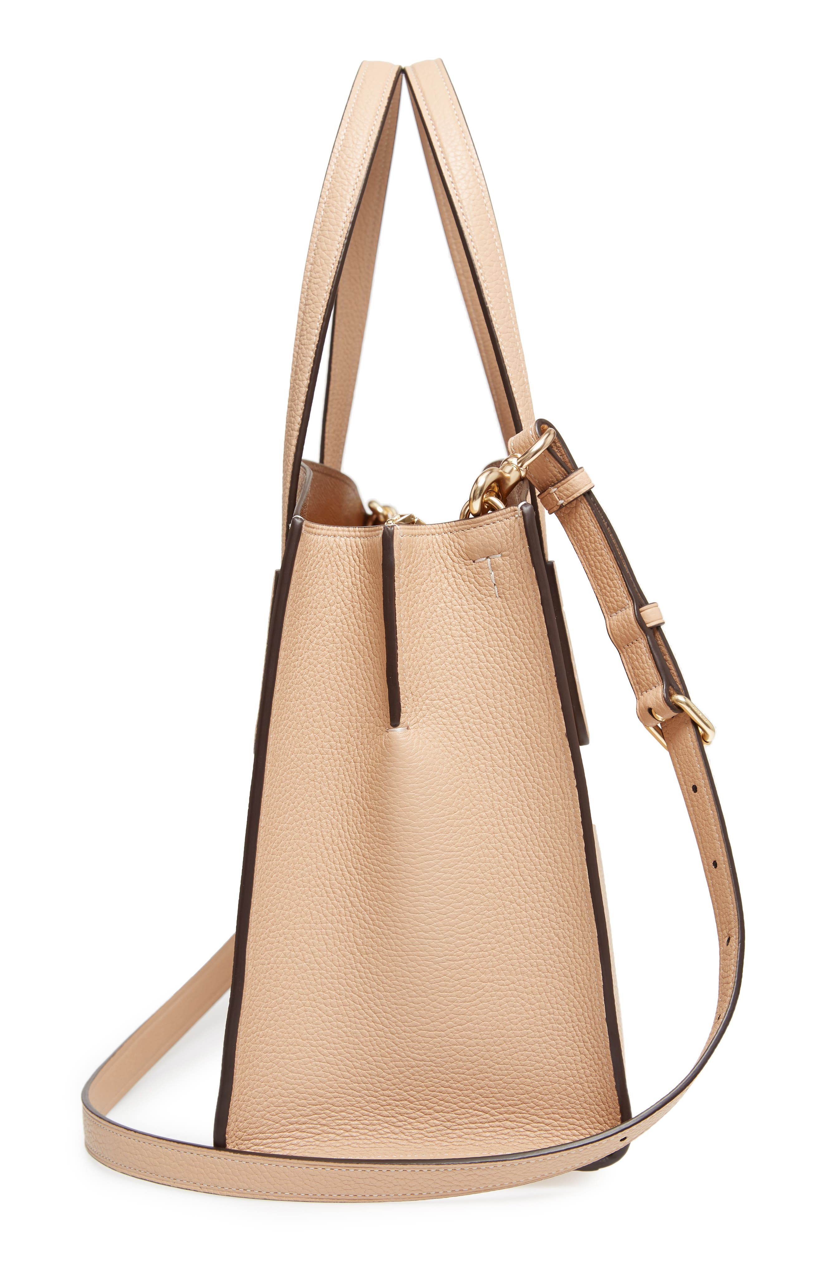 Charlie Leather Tote,                             Alternate thumbnail 4, color,                             Beechwood