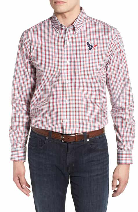 Cutter   Buck Houston Texans - Gilman Regular Fit Plaid Sport Shirt 8ffe356d8
