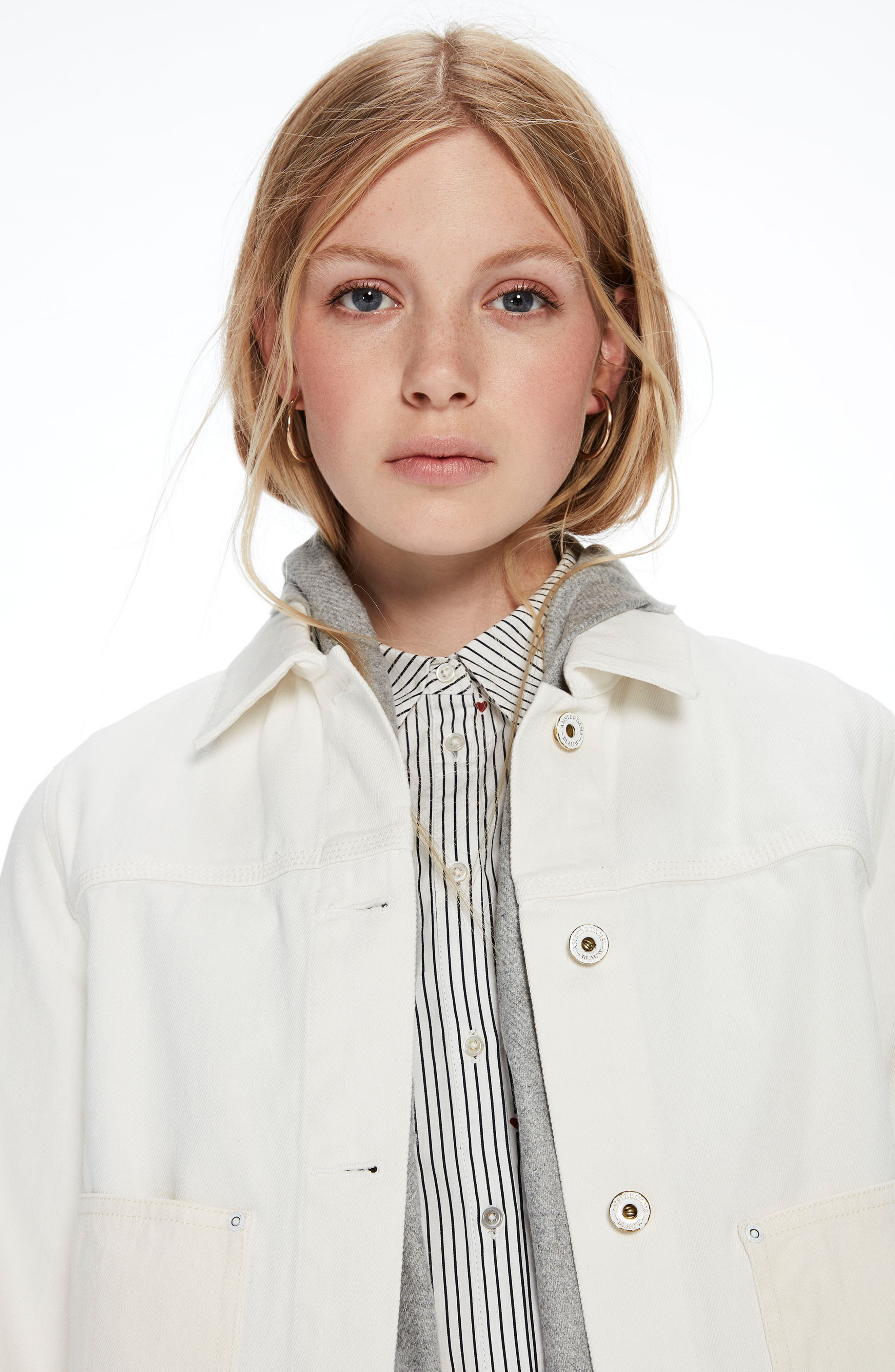 Moon Embroidered Denim Jacket with Scarf,                             Alternate thumbnail 7, color,                             03 Off White