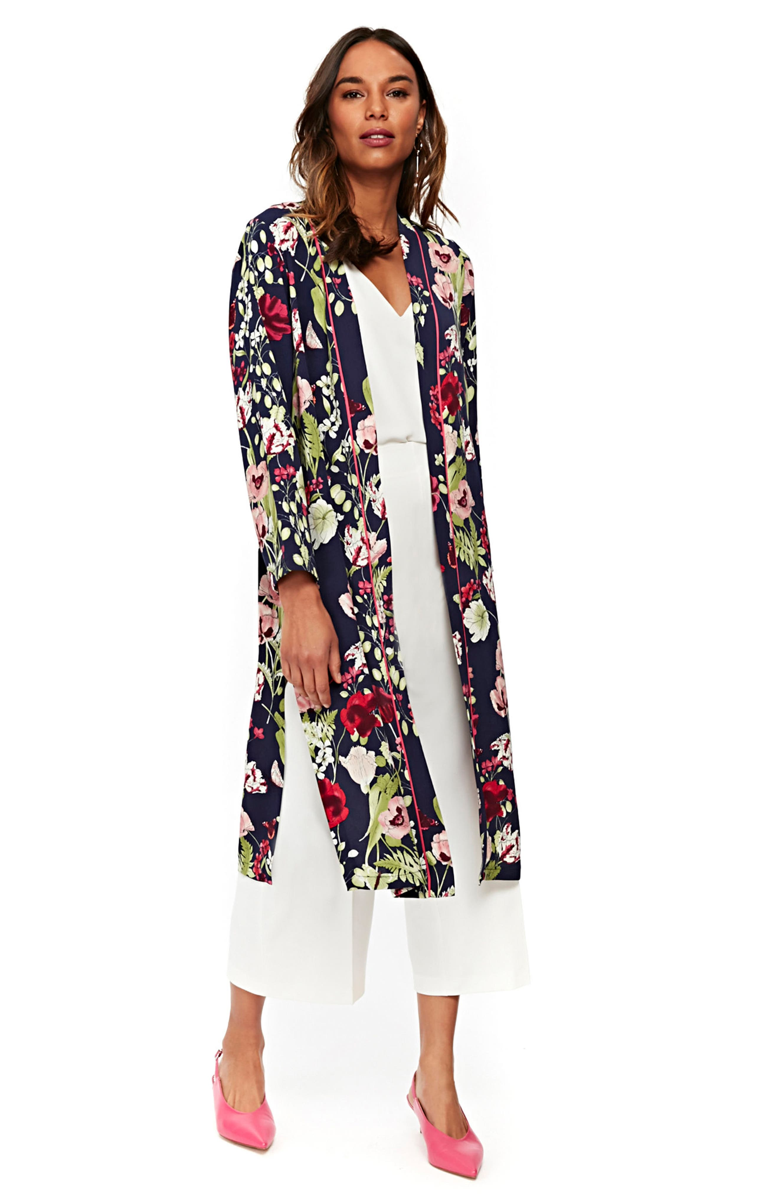 Floral Print Duster,                             Alternate thumbnail 4, color,                             Navy