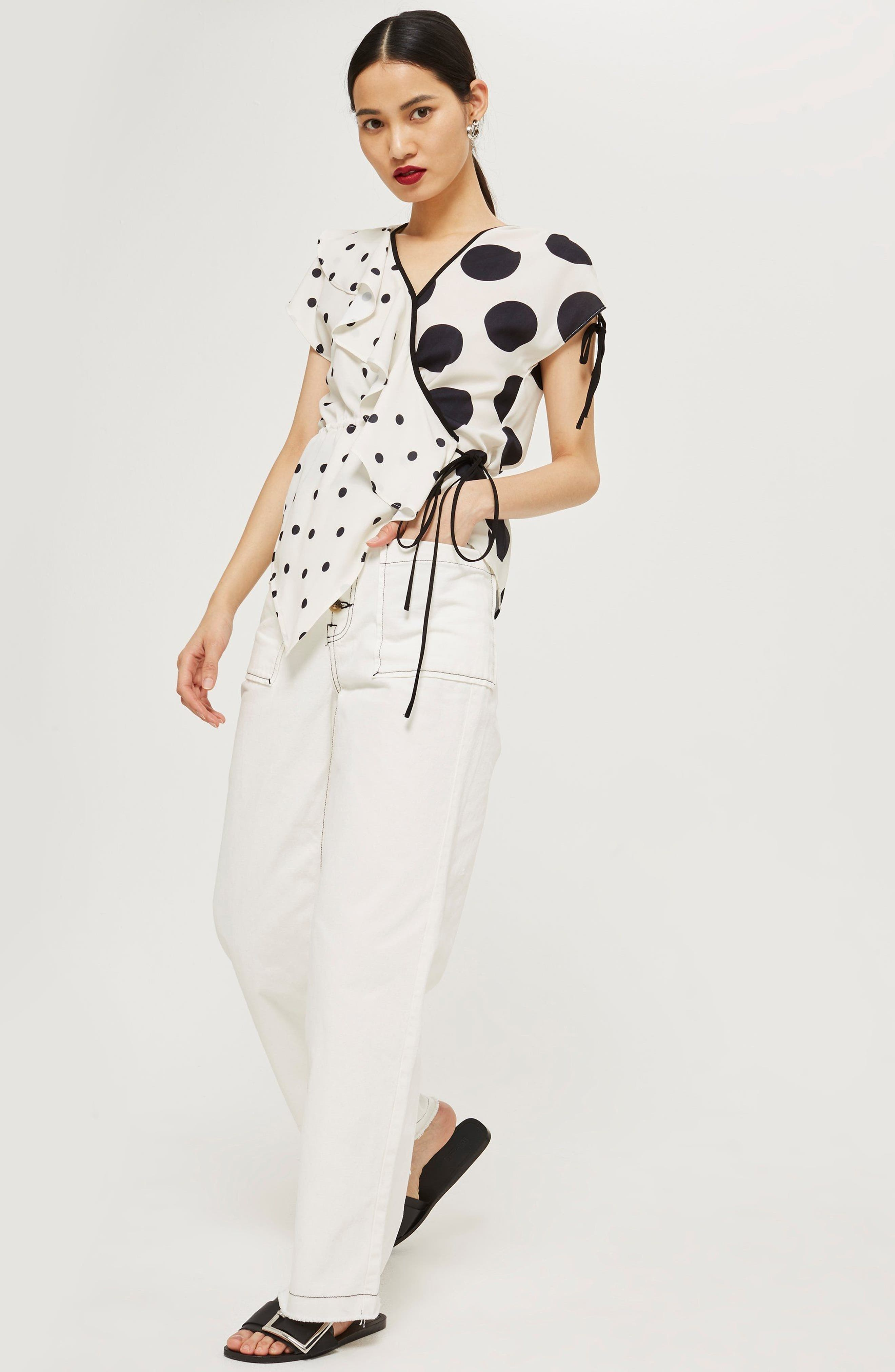 Mix Spotted Wrap Top,                             Alternate thumbnail 2, color,                             Ivory Multi