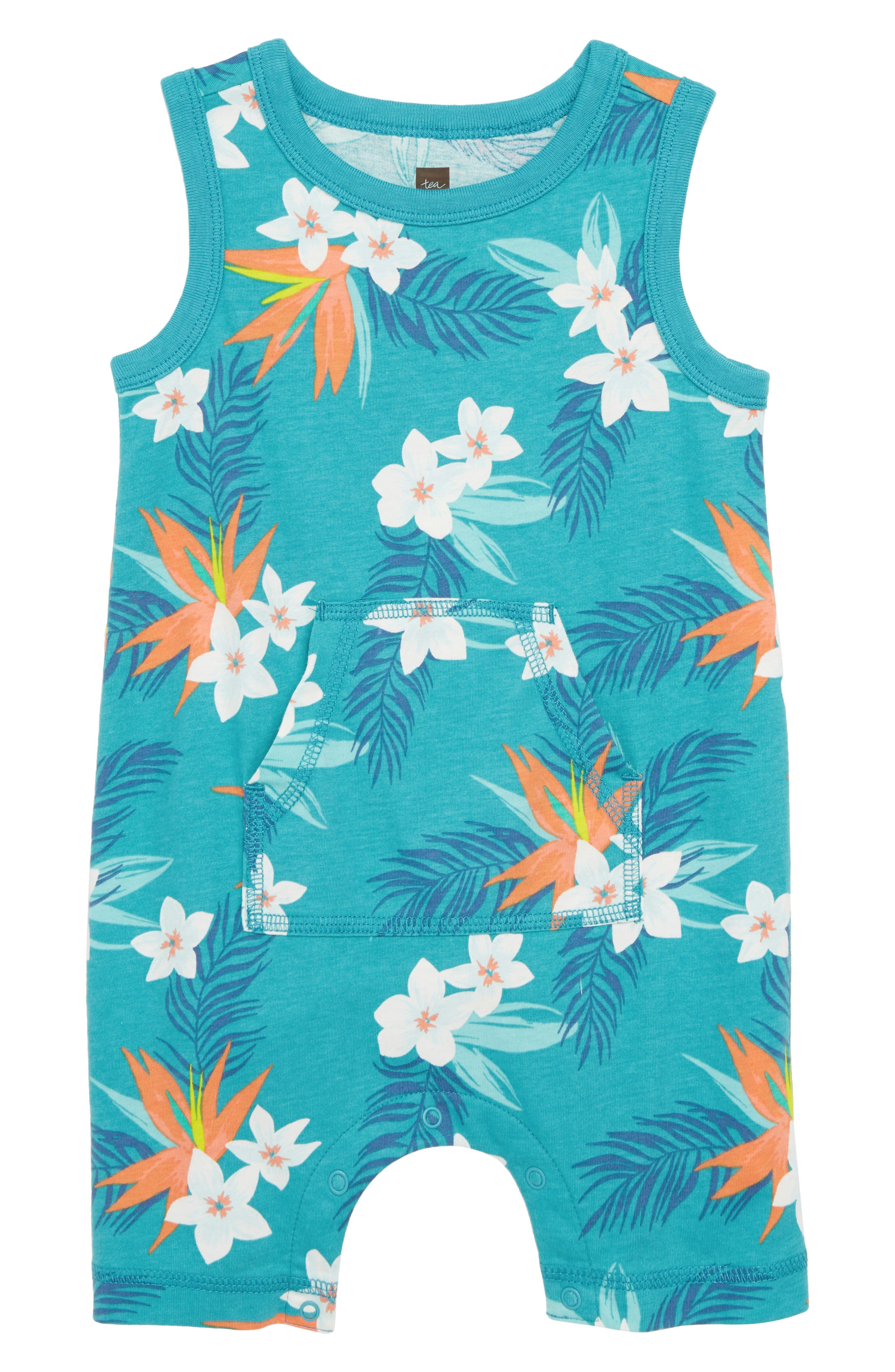 Print Tank Romper,                             Main thumbnail 1, color,                             Palm Florals