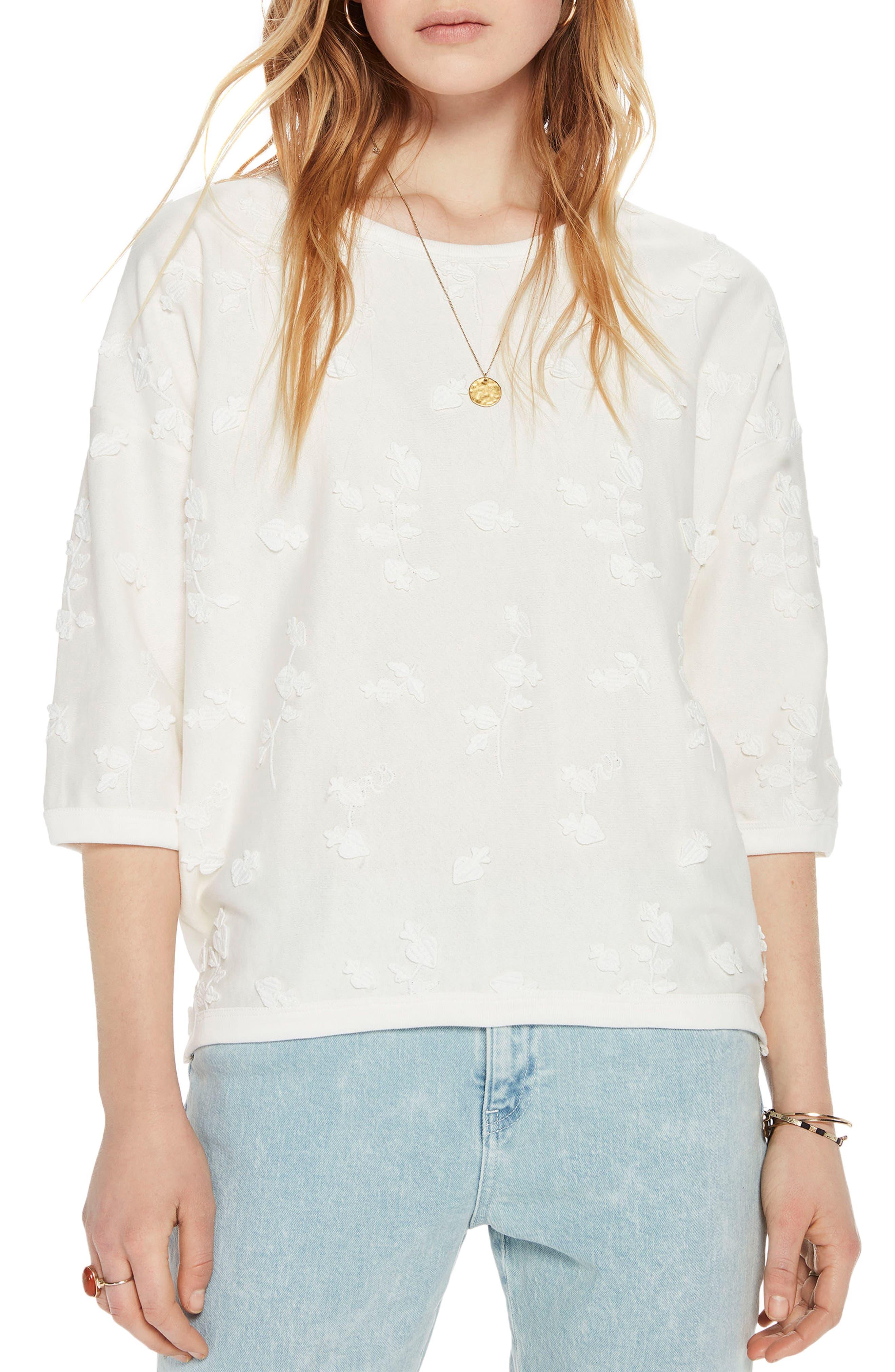 Tonal Embroidered Sweatshirt,                             Main thumbnail 1, color,                             01 Denim White