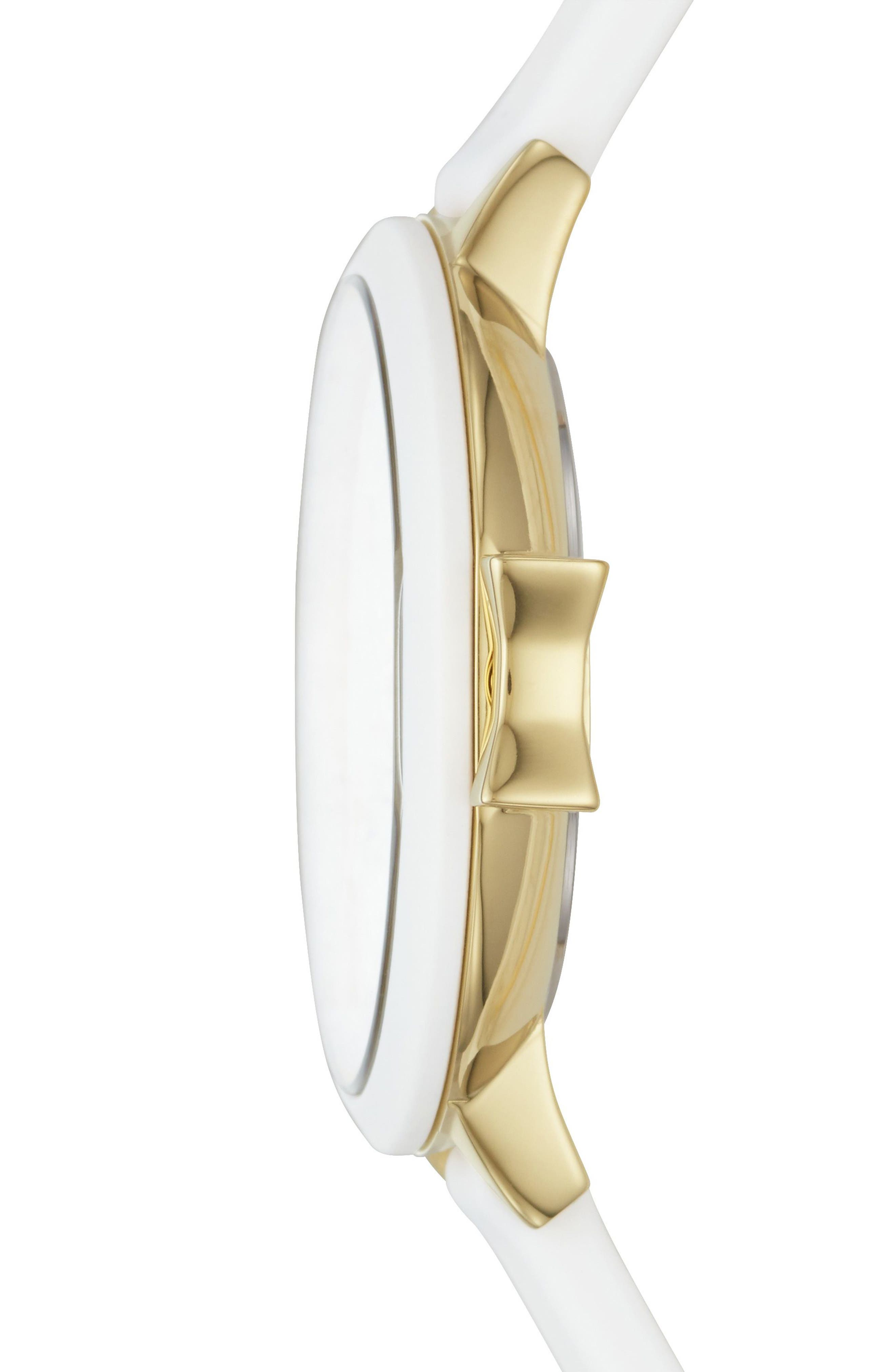 park row silicone strap watch, 34mm,                             Alternate thumbnail 2, color,                             White/ Gold