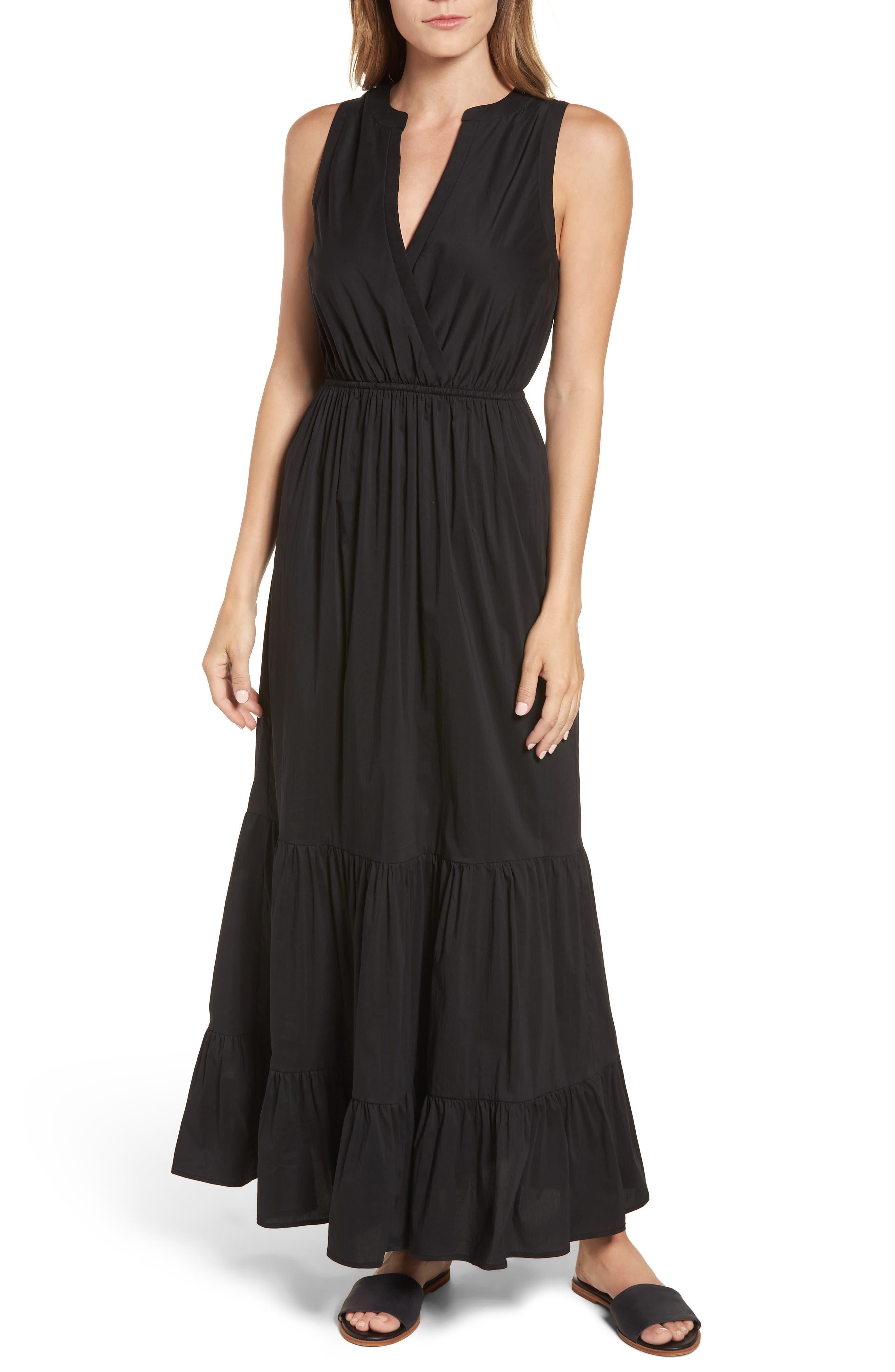 Tiered Maxi Dress,                         Main,                         color, Black Solid Poplin