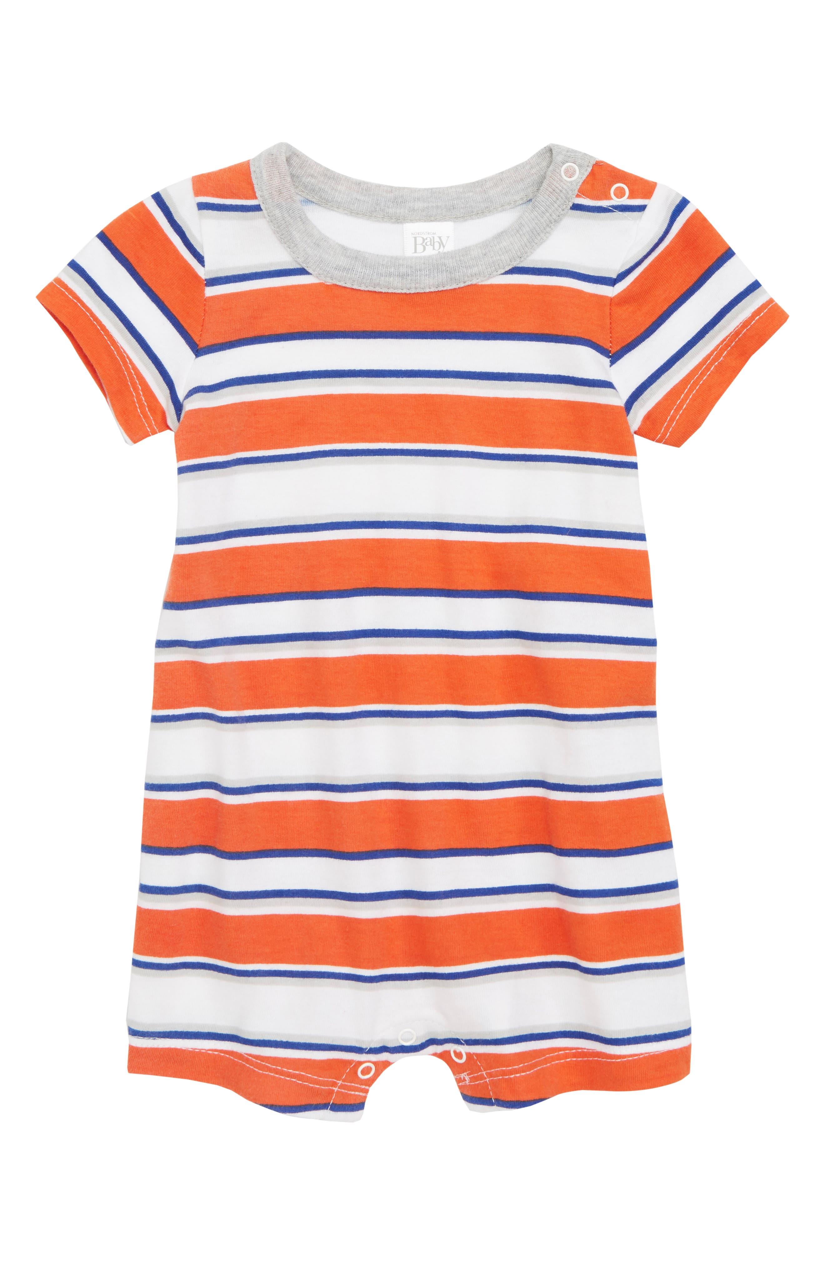 Stripe Romper,                             Main thumbnail 1, color,                             Orange Lily Sunset Stripe