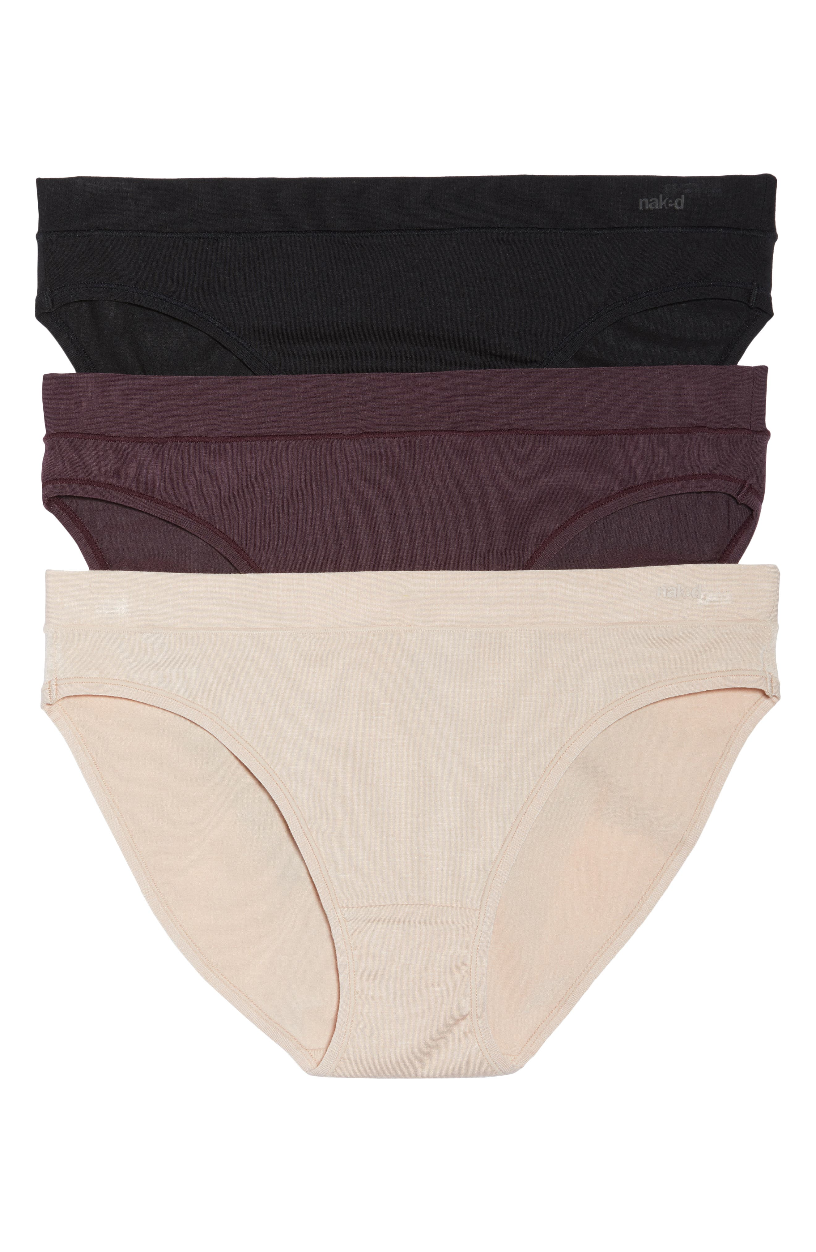 3-Pack Stretch Modal Modern Panties,                         Main,                         color, Barely Pink/Black/Eggplant