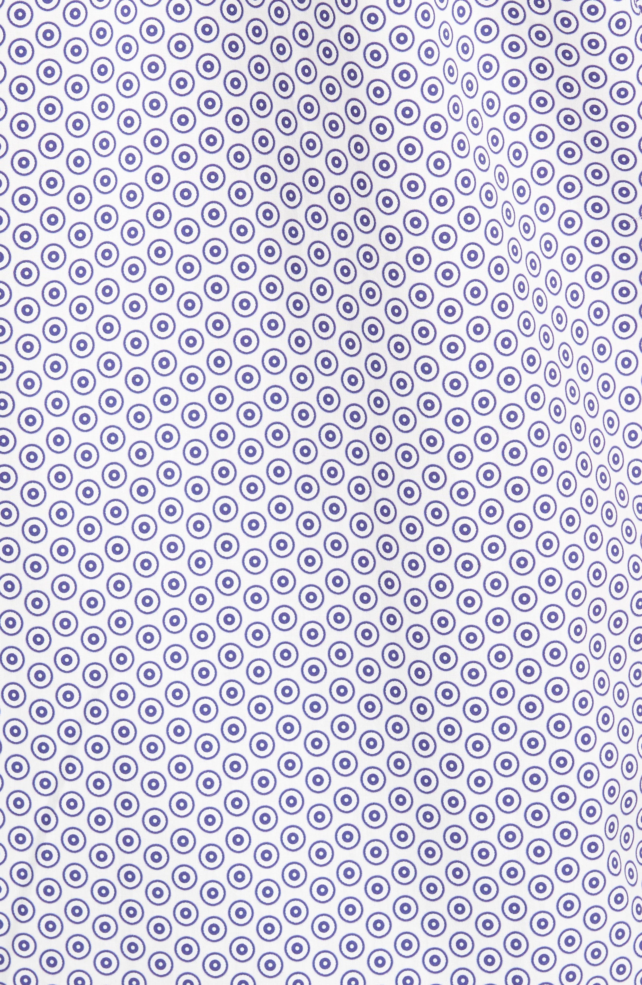 Shaped Fit Dot Circle Print Sport Shirt,                             Alternate thumbnail 5, color,                             White