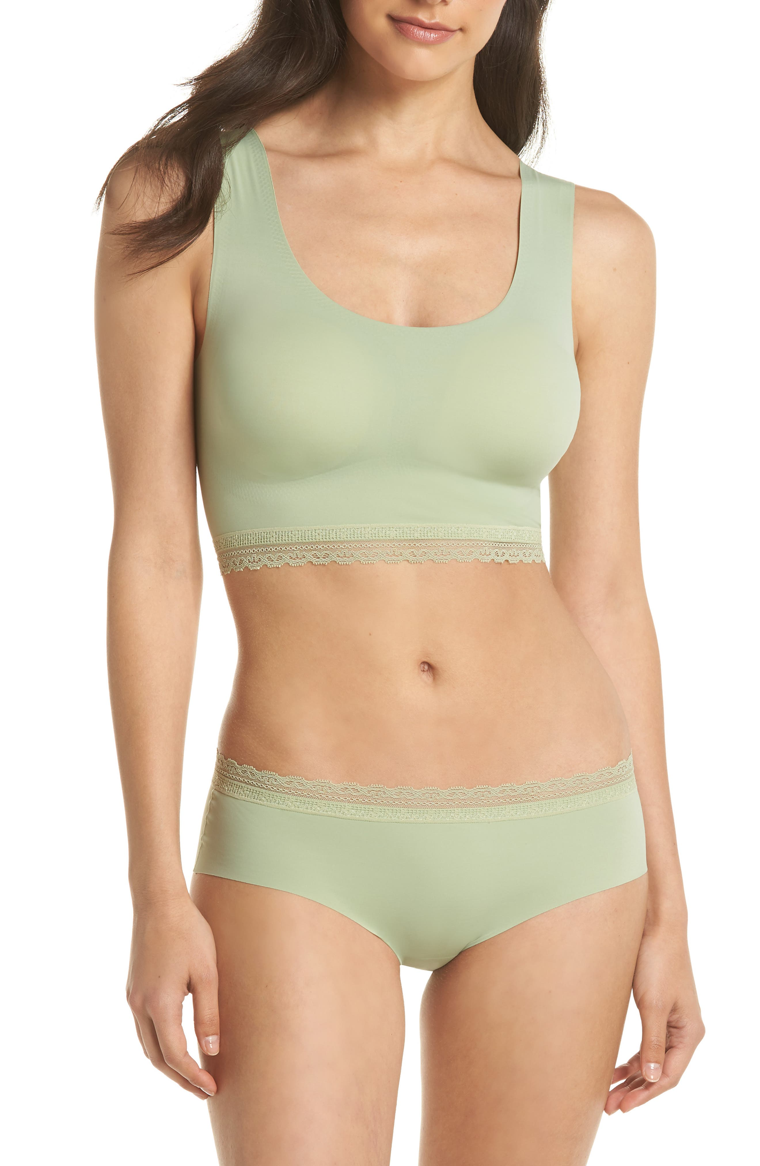 Almost Naked Lace Trim Bra,                             Alternate thumbnail 4, color,                             Green Tea
