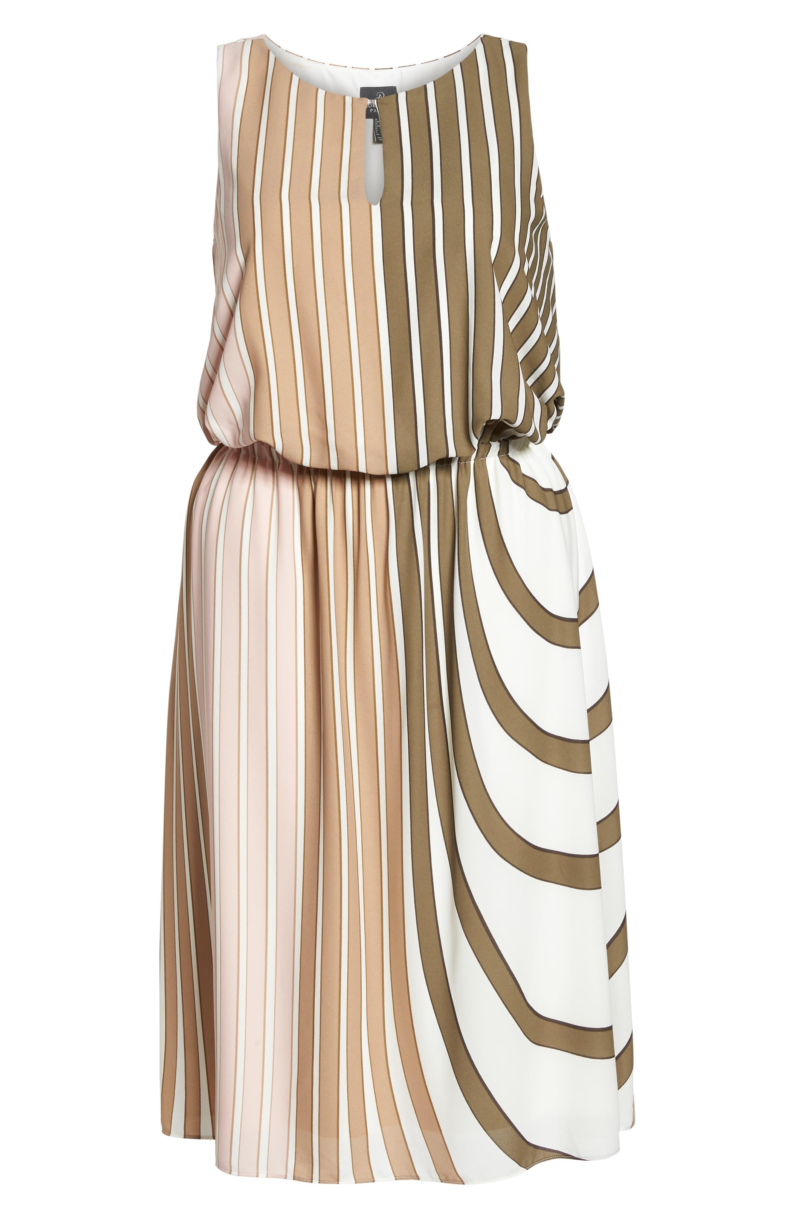 Beta Stripe Georgette Fit & Flare Dress,                             Alternate thumbnail 7, color,                             Olive Multi