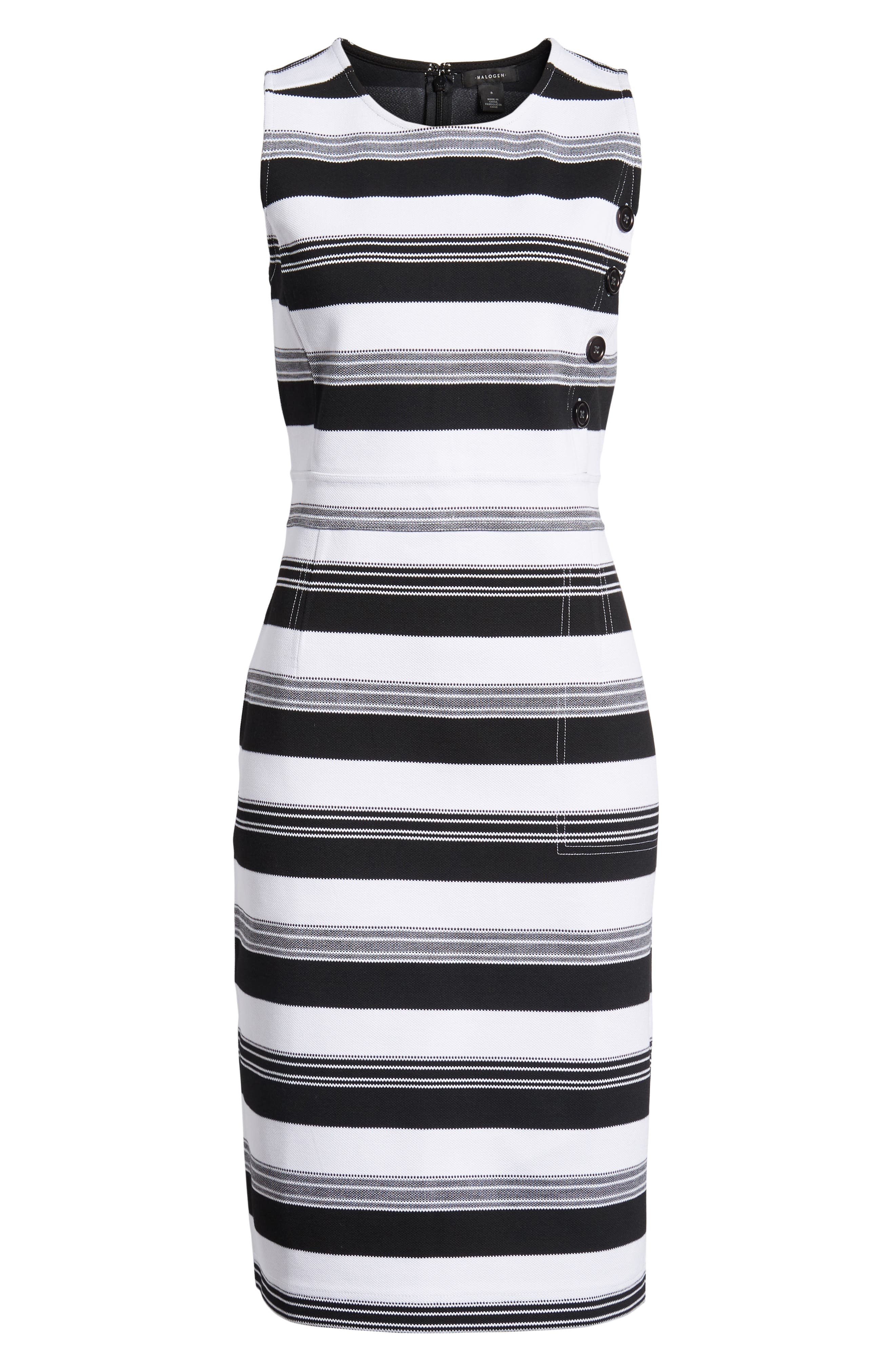 Stripe Knit Dress,                             Alternate thumbnail 7, color,                             Black- Ivory Stripe