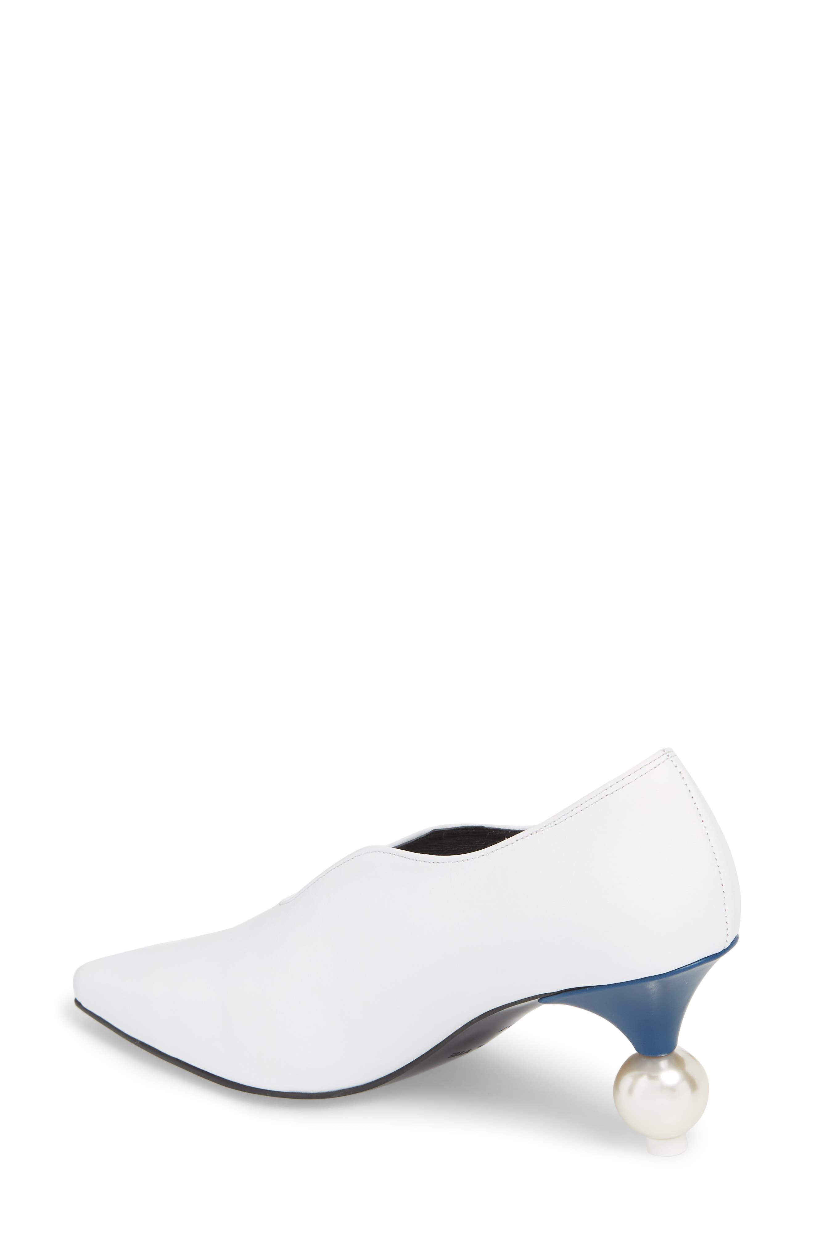 Statement Heel Pump,                             Alternate thumbnail 2, color,                             White/ Navy