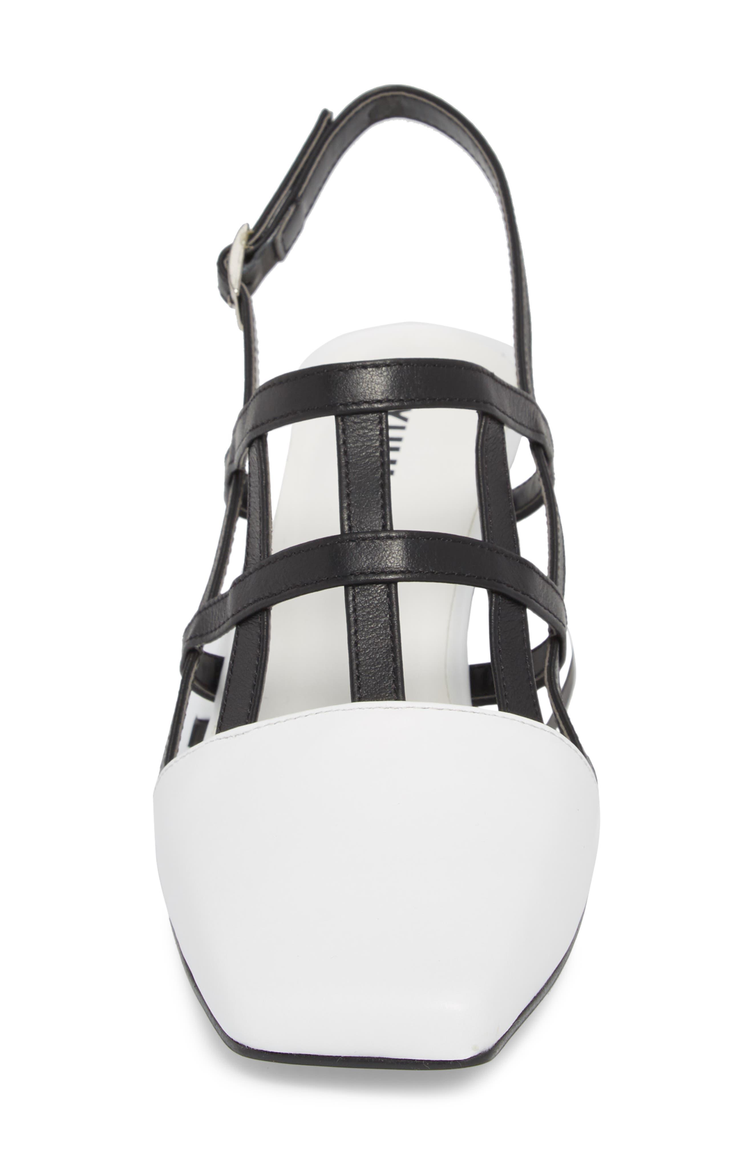 Caged Slingback Pump,                             Alternate thumbnail 4, color,                             White/ Black