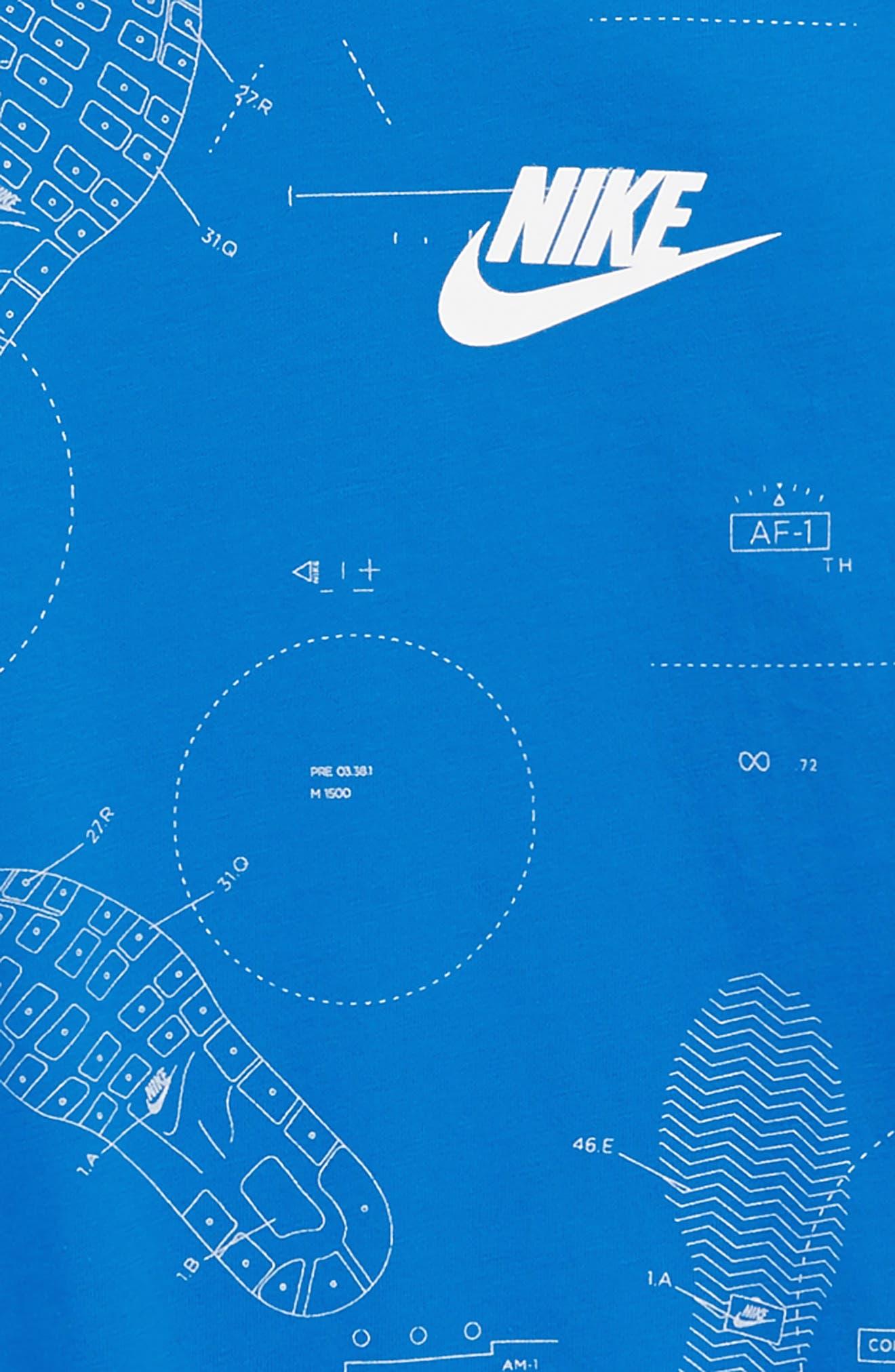 Sportswear Shoeprint Graphic T-Shirt,                             Alternate thumbnail 2, color,                             Blue Nebula
