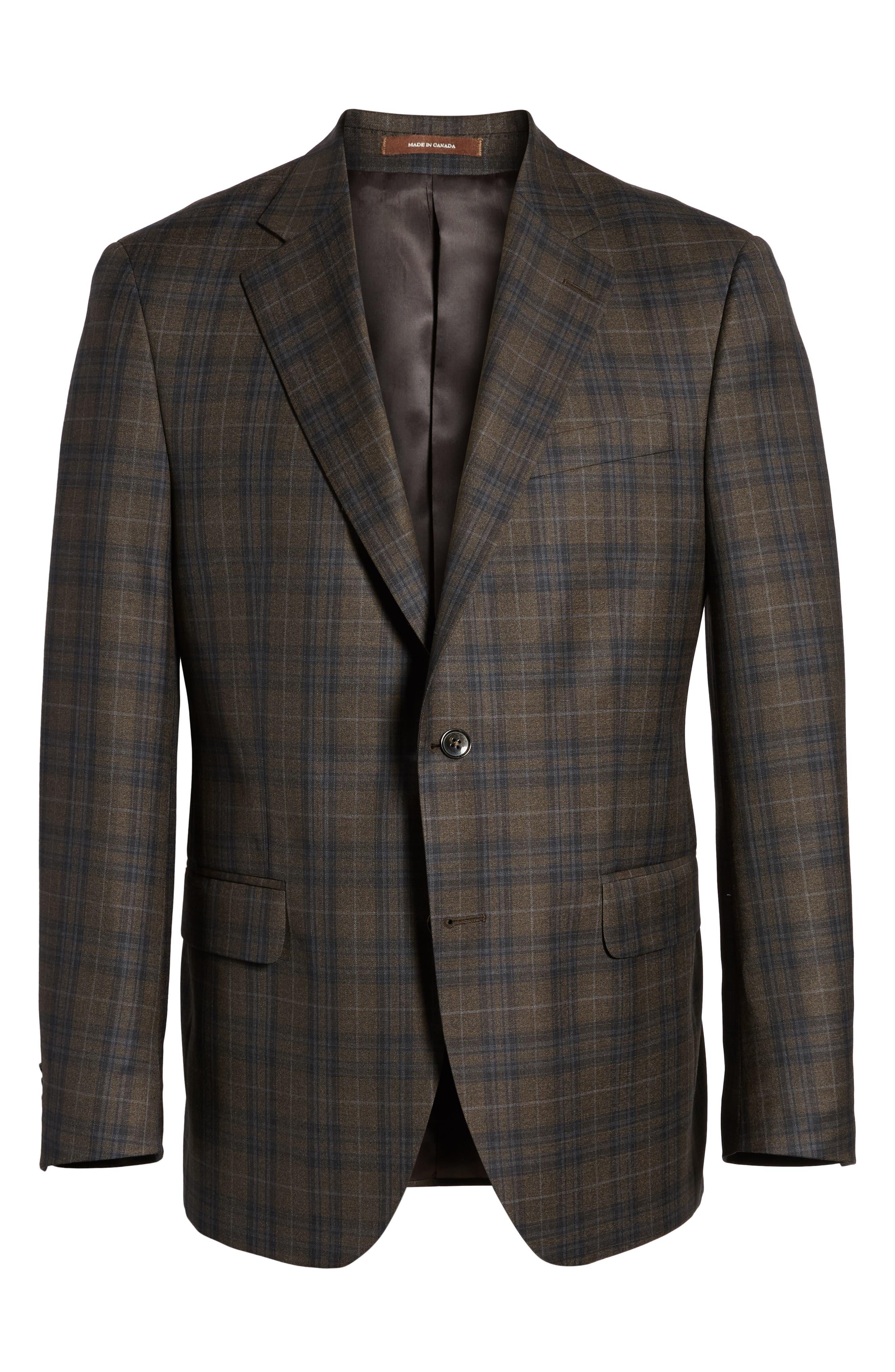 Classic Fit Plaid Wool Sport Coat,                             Alternate thumbnail 6, color,                             Brown