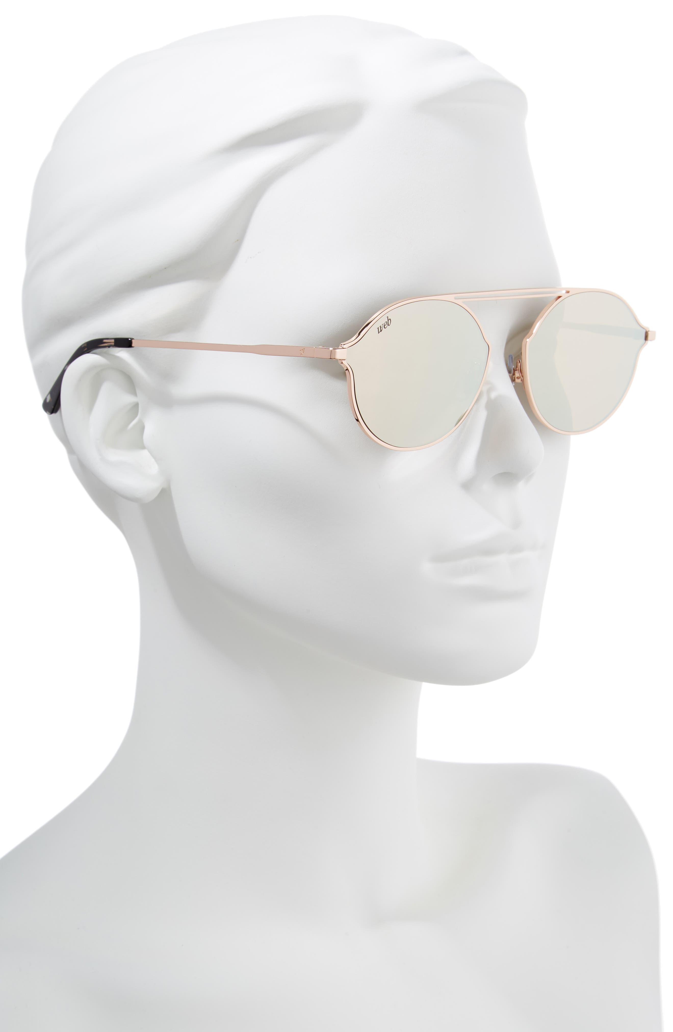 57mm Round Sunglasses,                             Alternate thumbnail 2, color,                             Light Bronze/ Brown Mirror