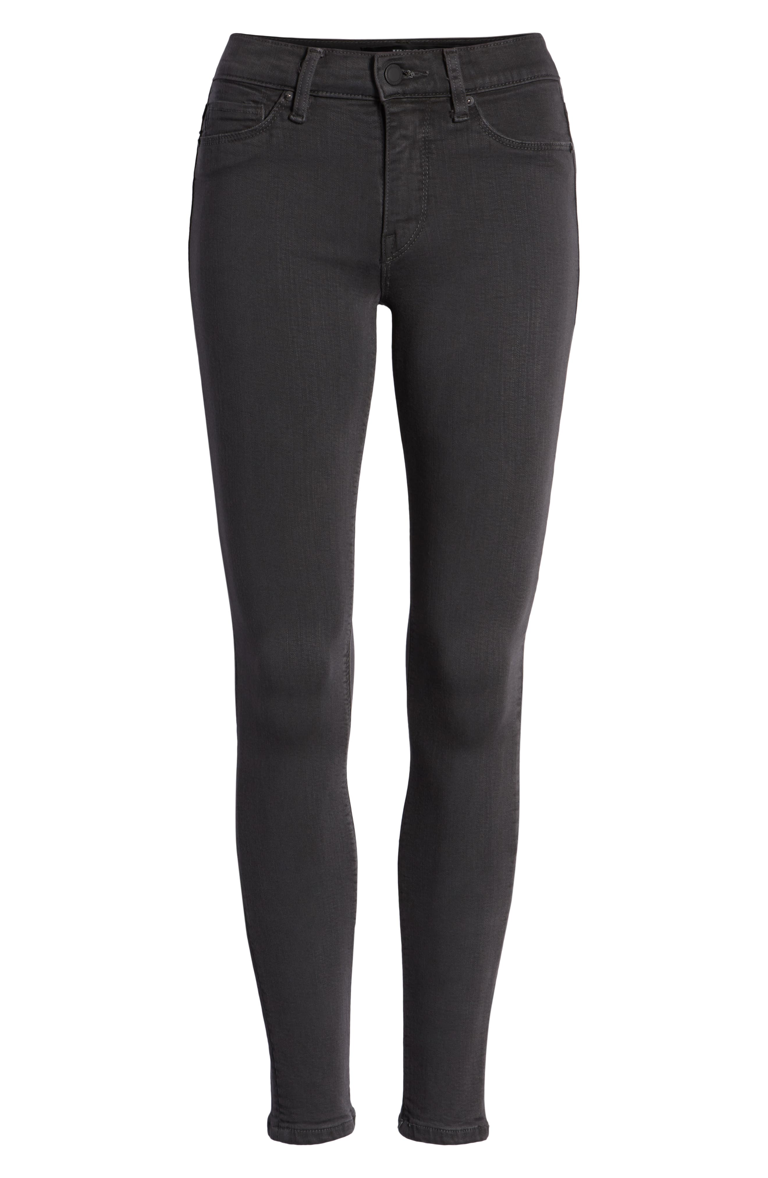 HudsonJeans Nico Coated Super Skinny Jeans,                             Alternate thumbnail 7, color,                             Distressed Graphite