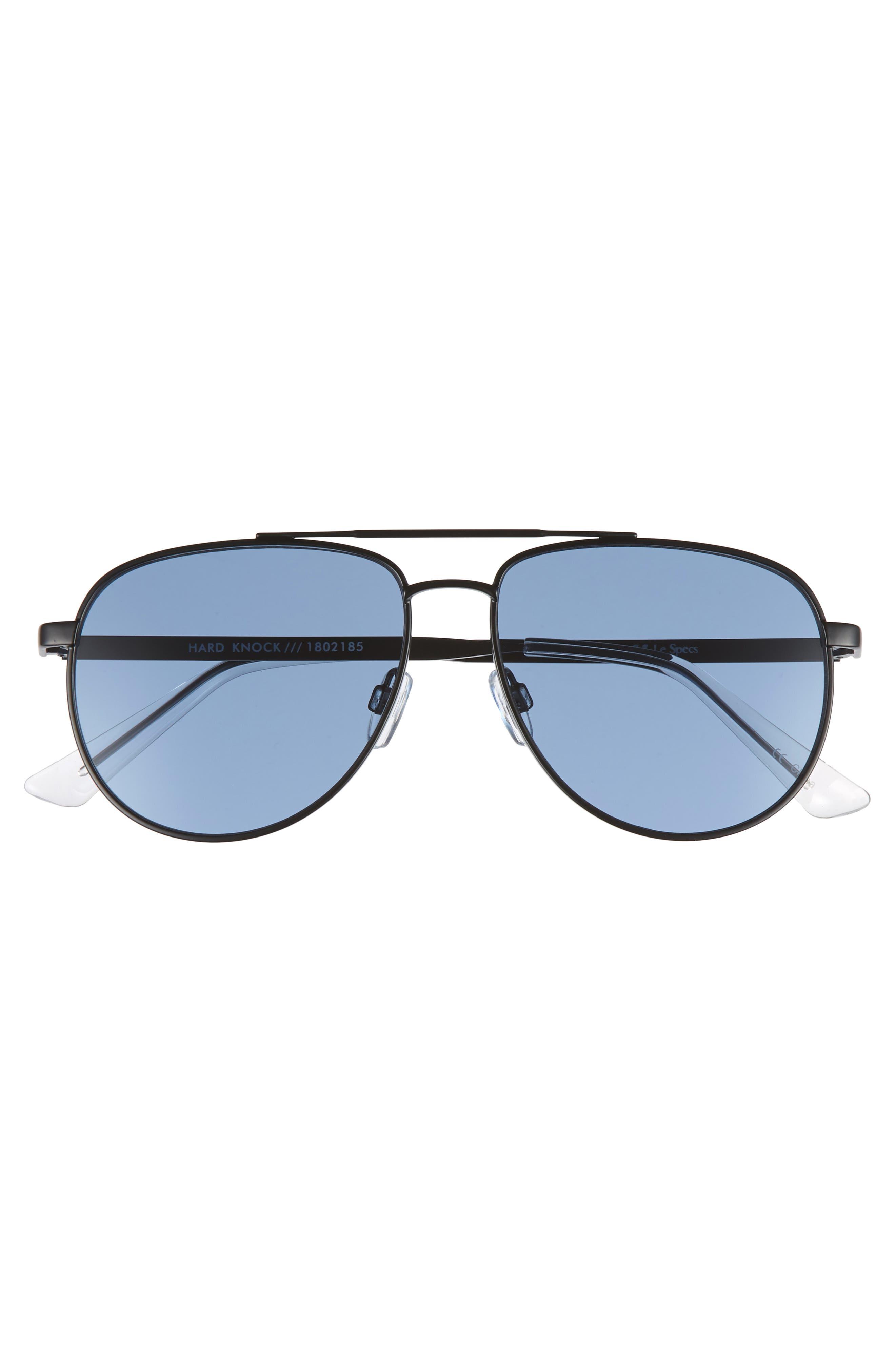 Hard Knock 57mm Aviator Sunglasses,                             Alternate thumbnail 3, color,                             Matte Navy