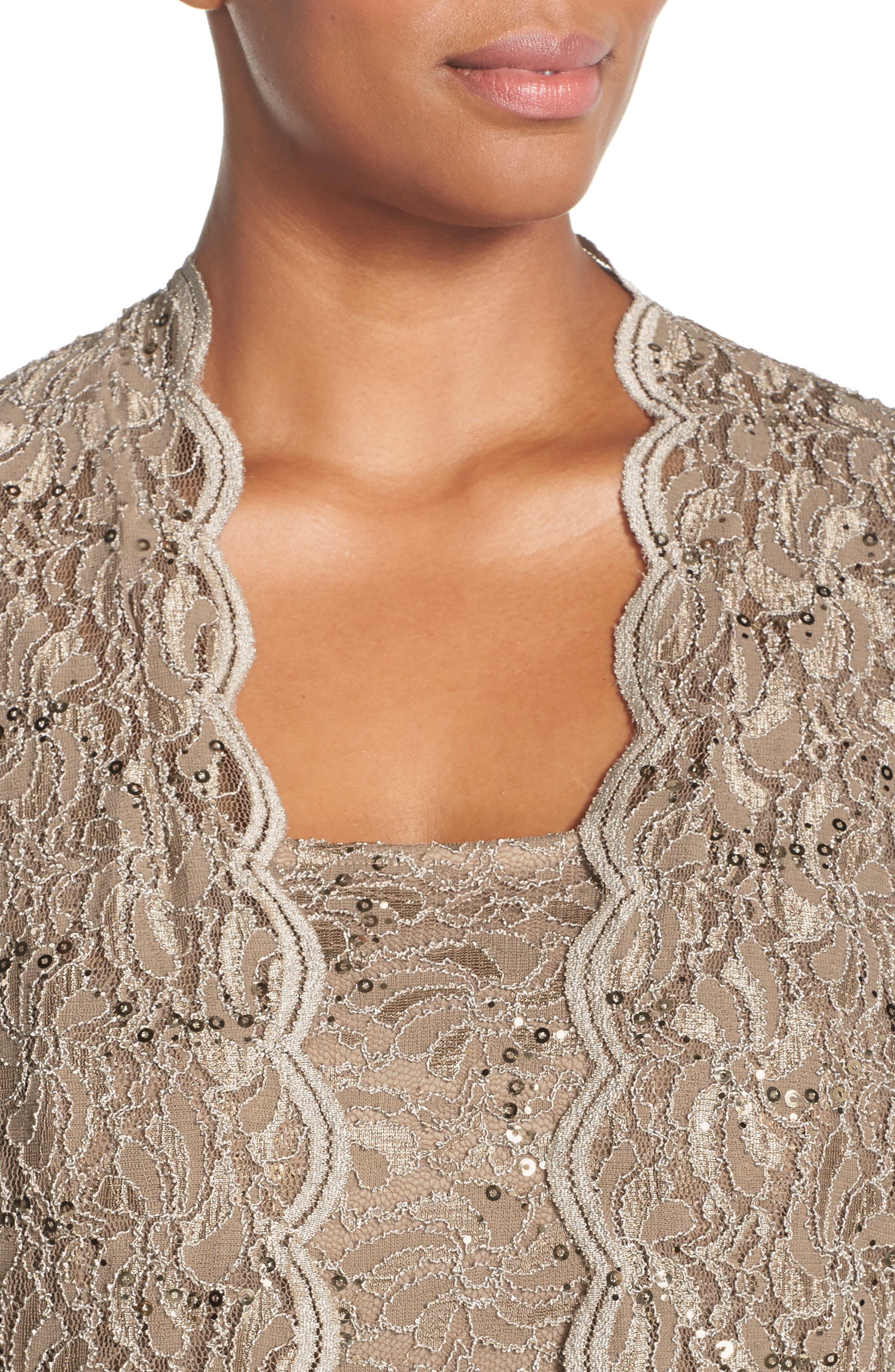 Lace Dress & Jacket,                             Alternate thumbnail 5, color,                             Champagne