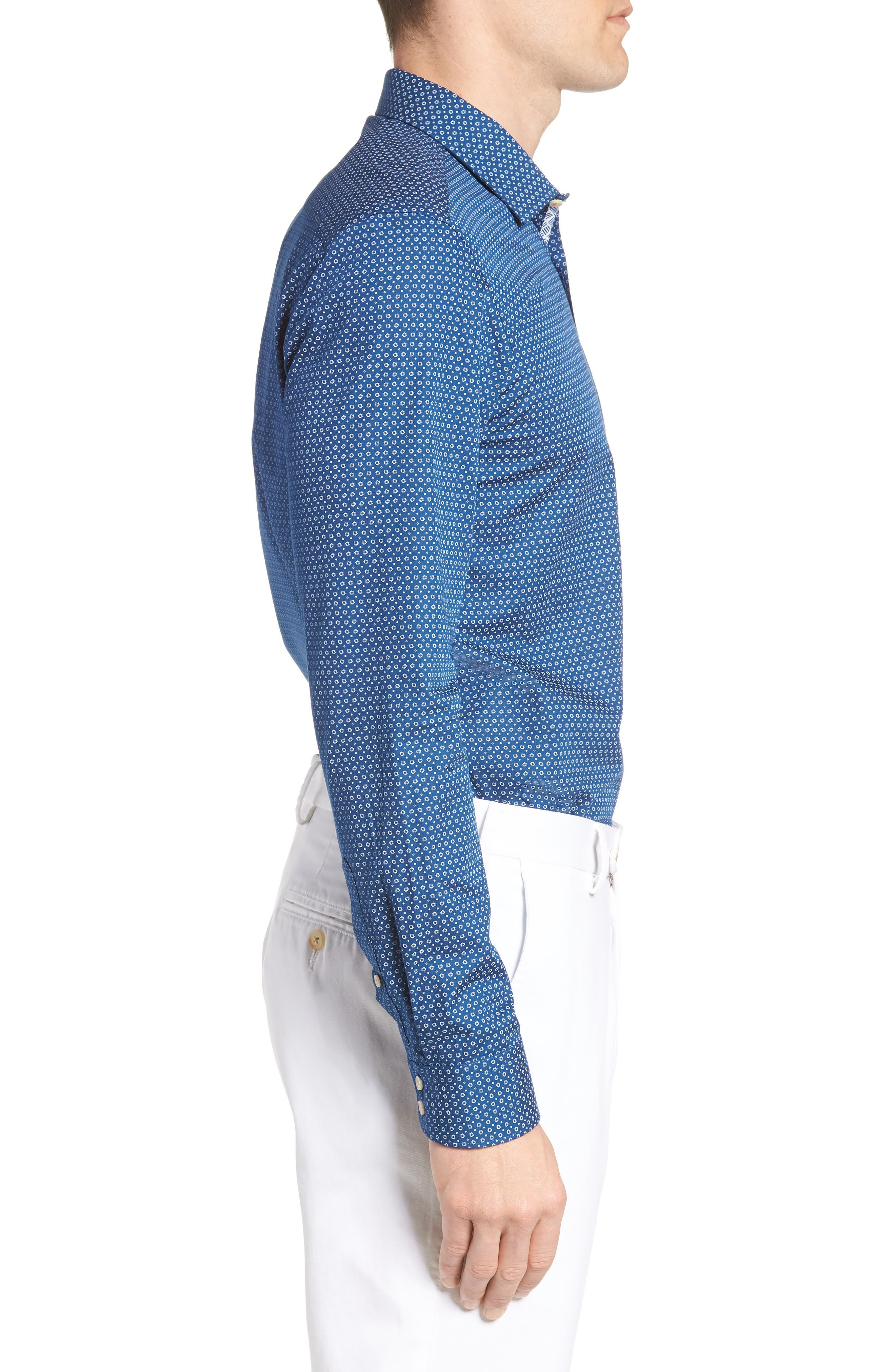 Loops Slim Fit Dress Shirt,                             Alternate thumbnail 3, color,                             Navy