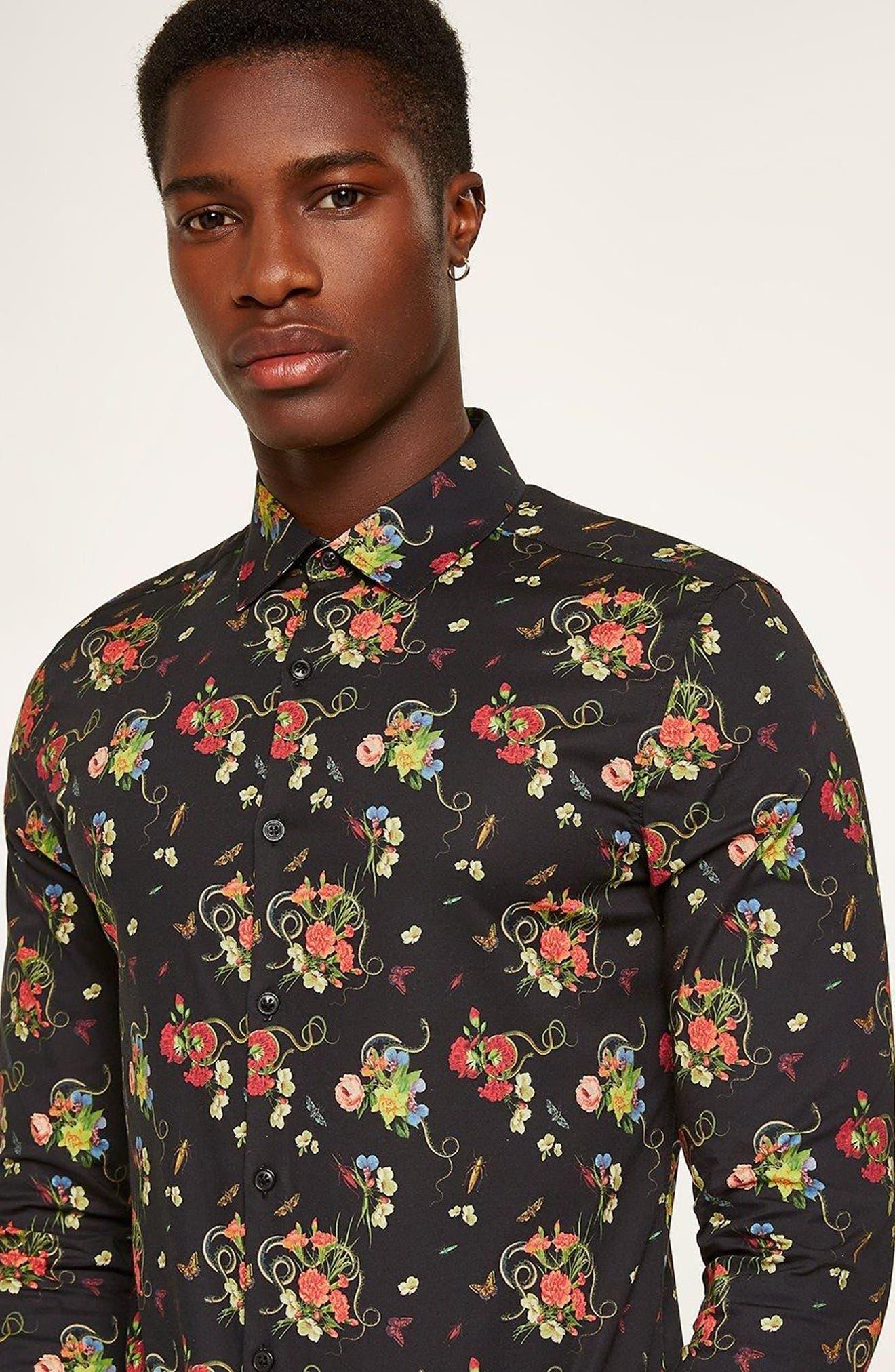 Snake Floral Print Shirt,                             Alternate thumbnail 2, color,                             Black Multi