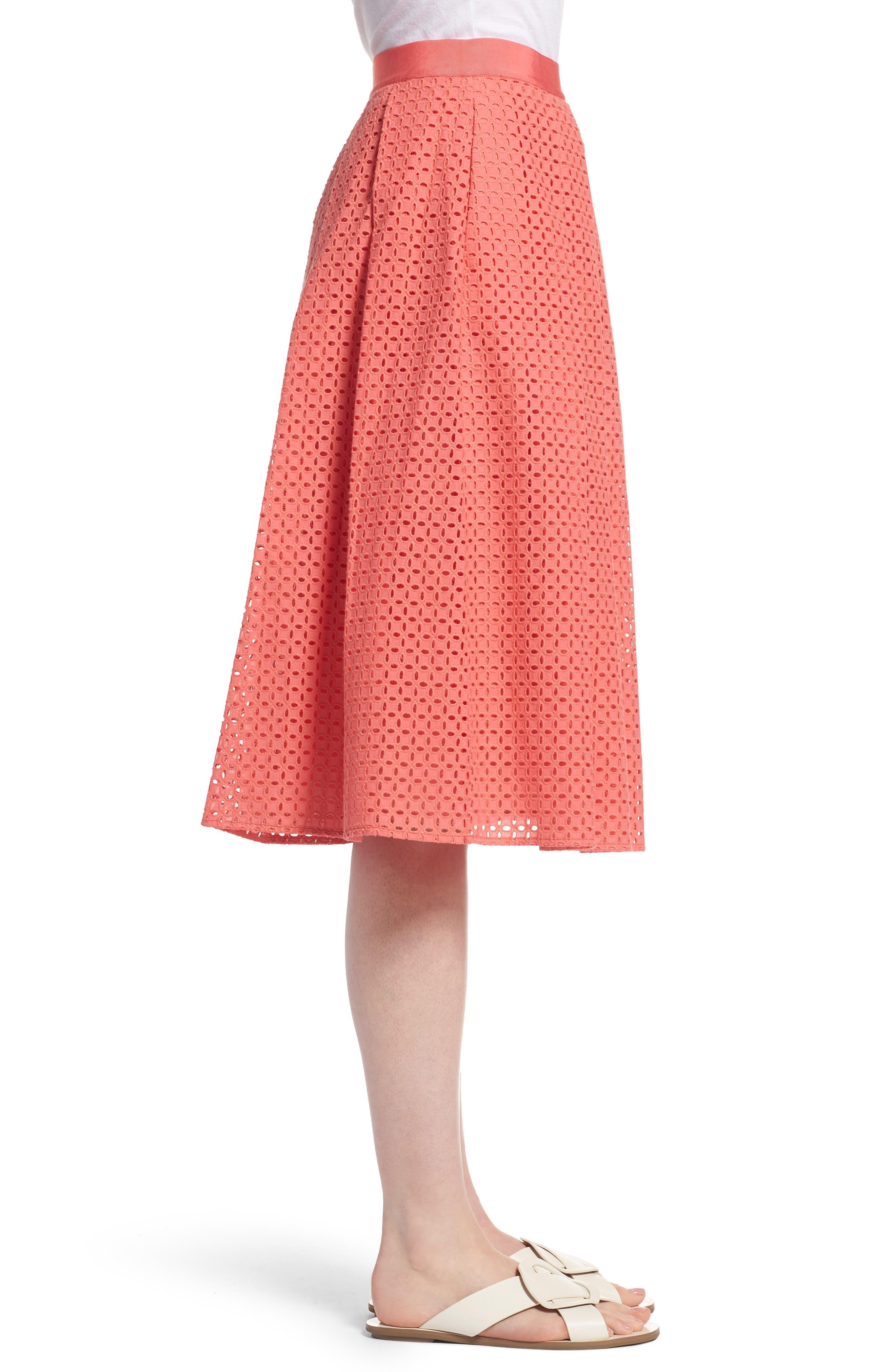 Eyelet A-Line Skirt,                             Alternate thumbnail 3, color,                             Coral Sugar