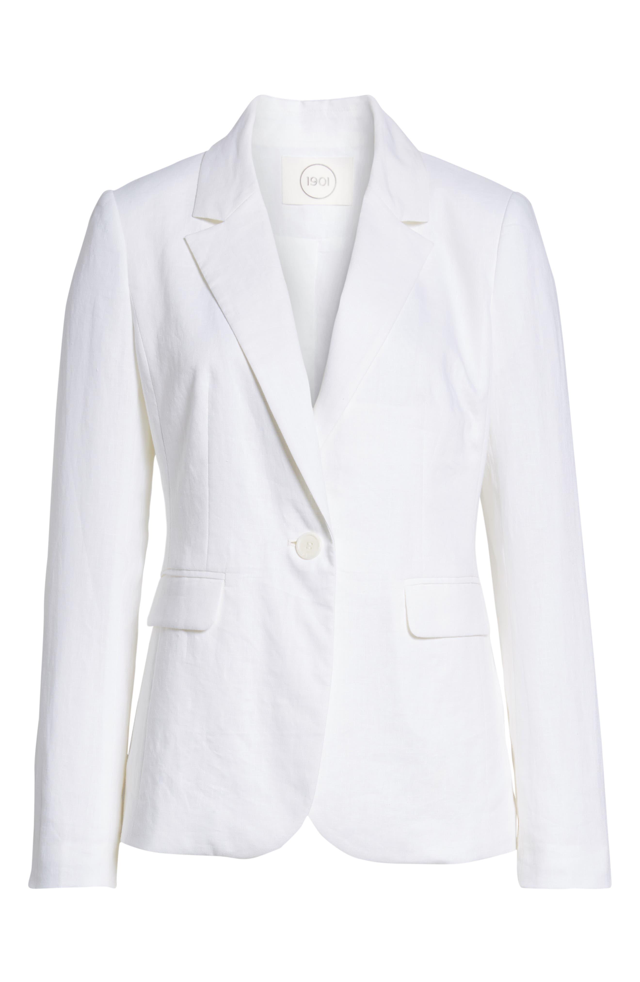 Linen Blend Blazer,                             Alternate thumbnail 6, color,                             White