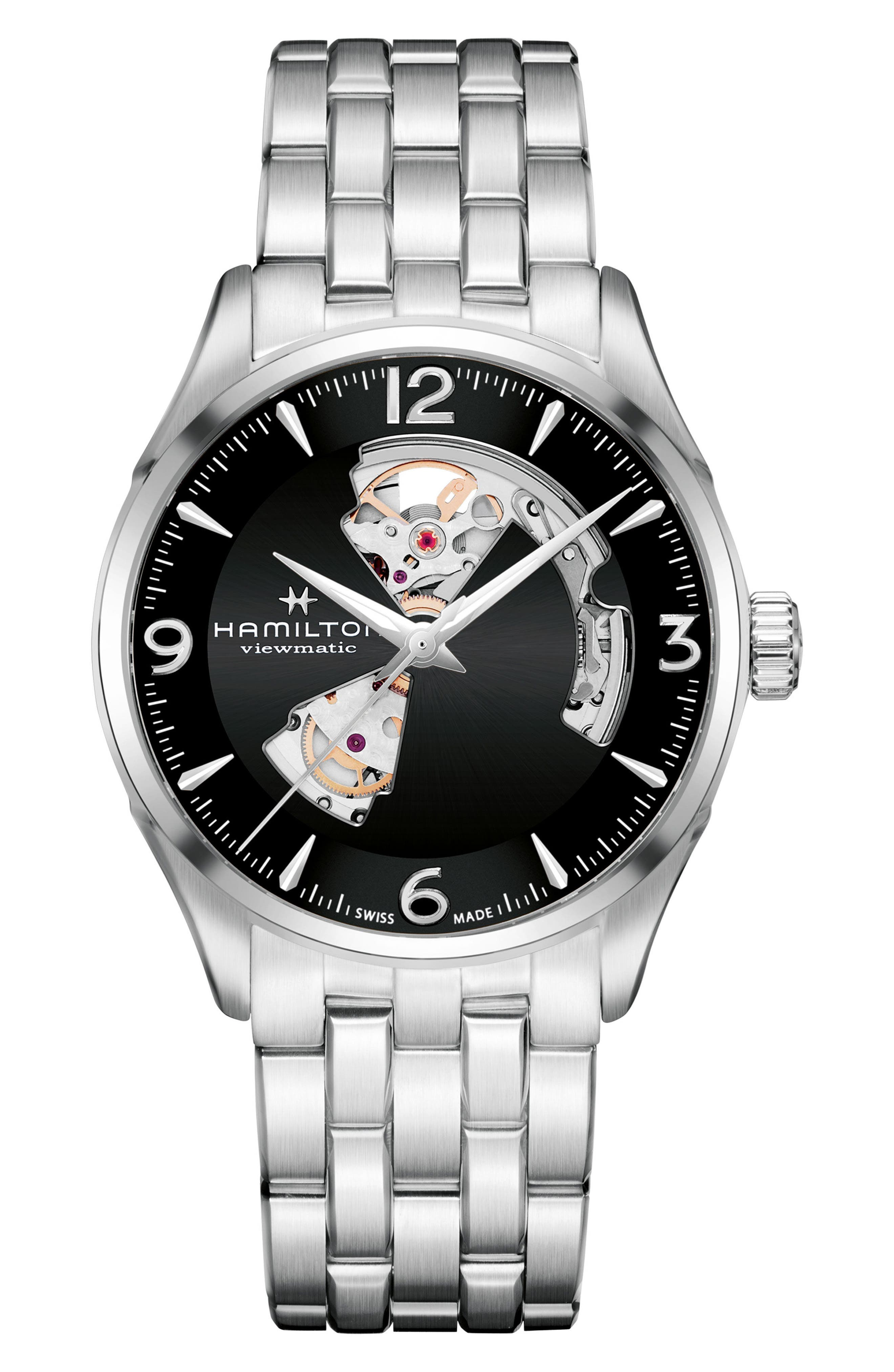 Jazzmaster Open Heart Automatic Bracelet Watch, 42mm,                         Main,                         color, Silver/ Black/ Silver