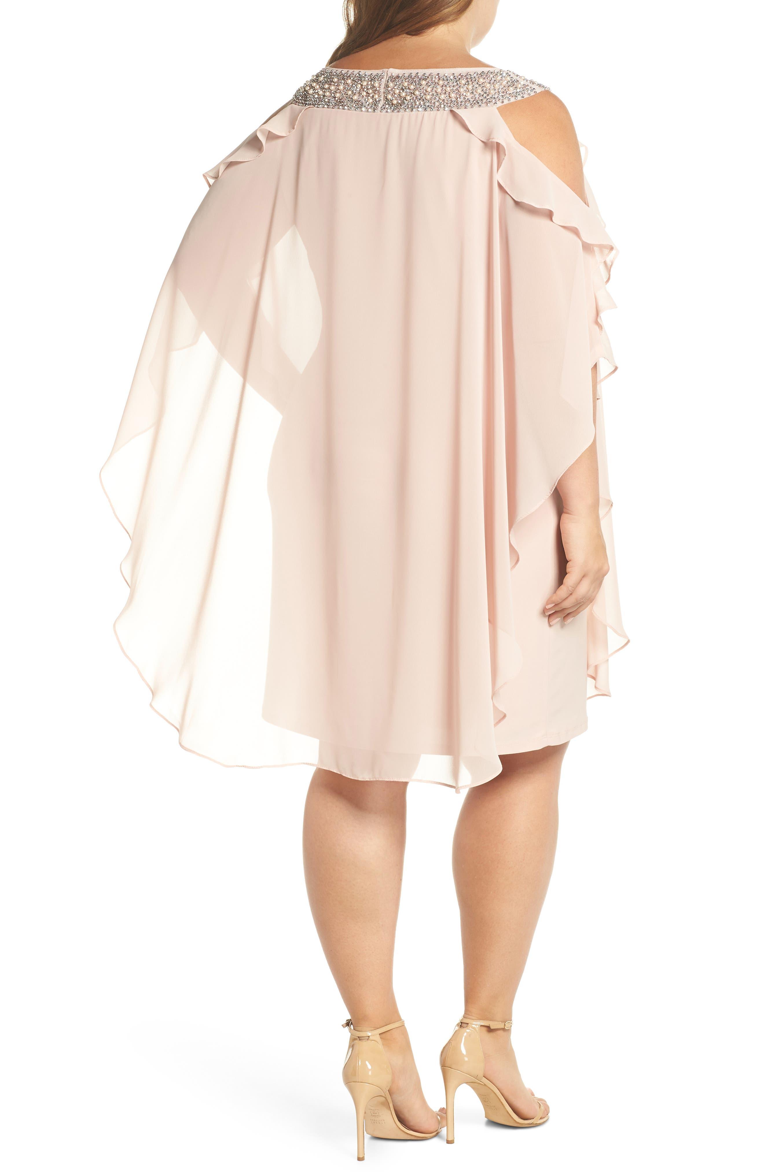 Embellished Neck Cold Shoulder Overlay Chiffon Shift Dress,                             Alternate thumbnail 2, color,                             Blush