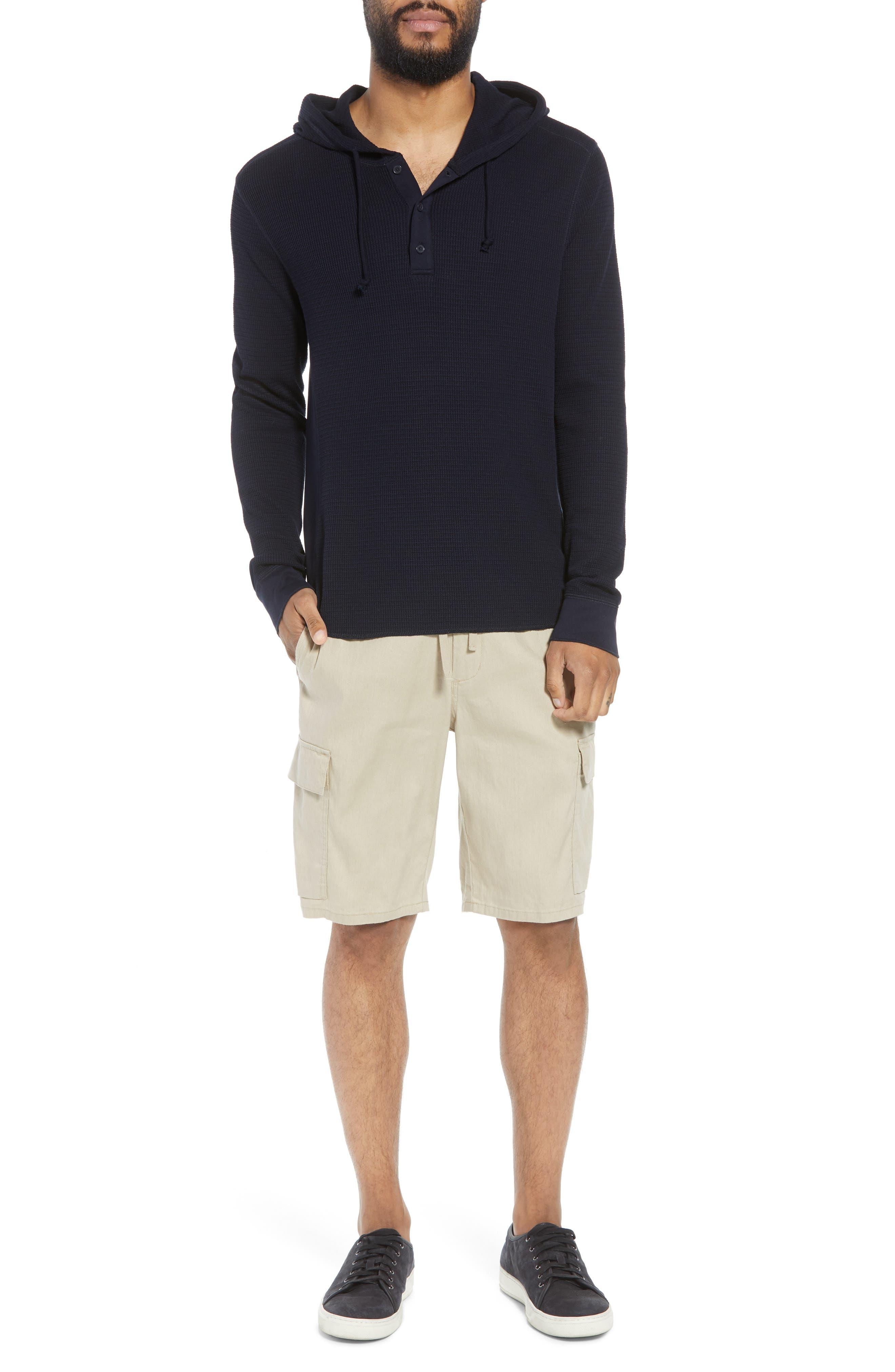 Stretch Linen & Cotton Cargo Shorts,                             Alternate thumbnail 6, color,                             Flax