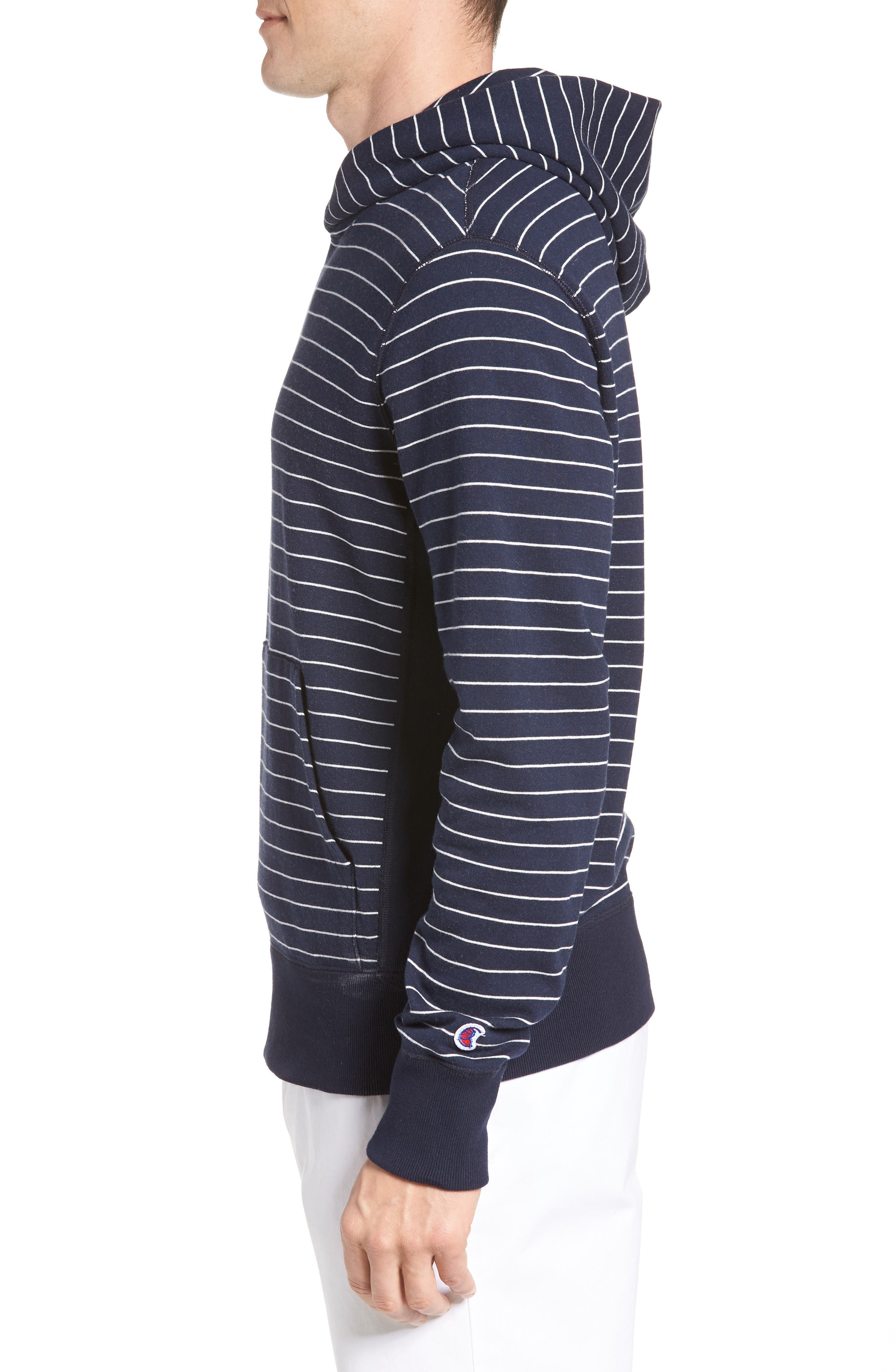 + Champion Stripe Pullover Hoodie,                             Alternate thumbnail 3, color,                             Navy