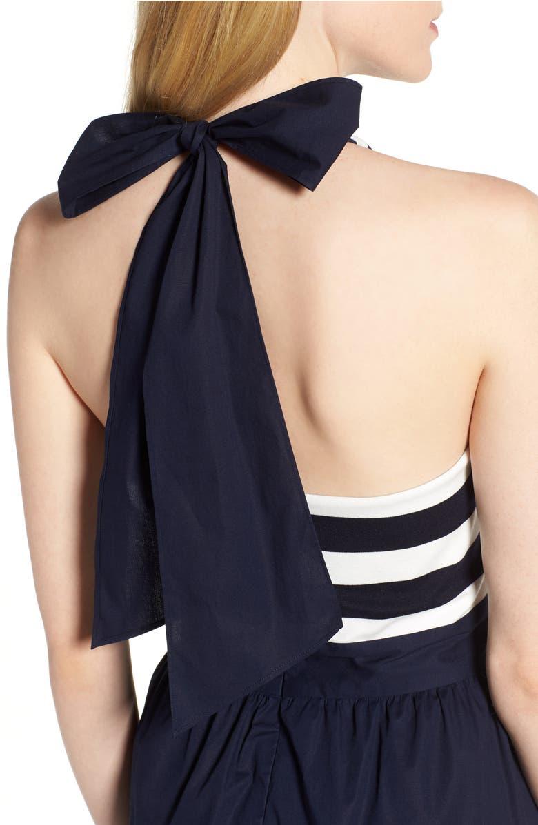 Stripe Halter Fit & Flare Dress