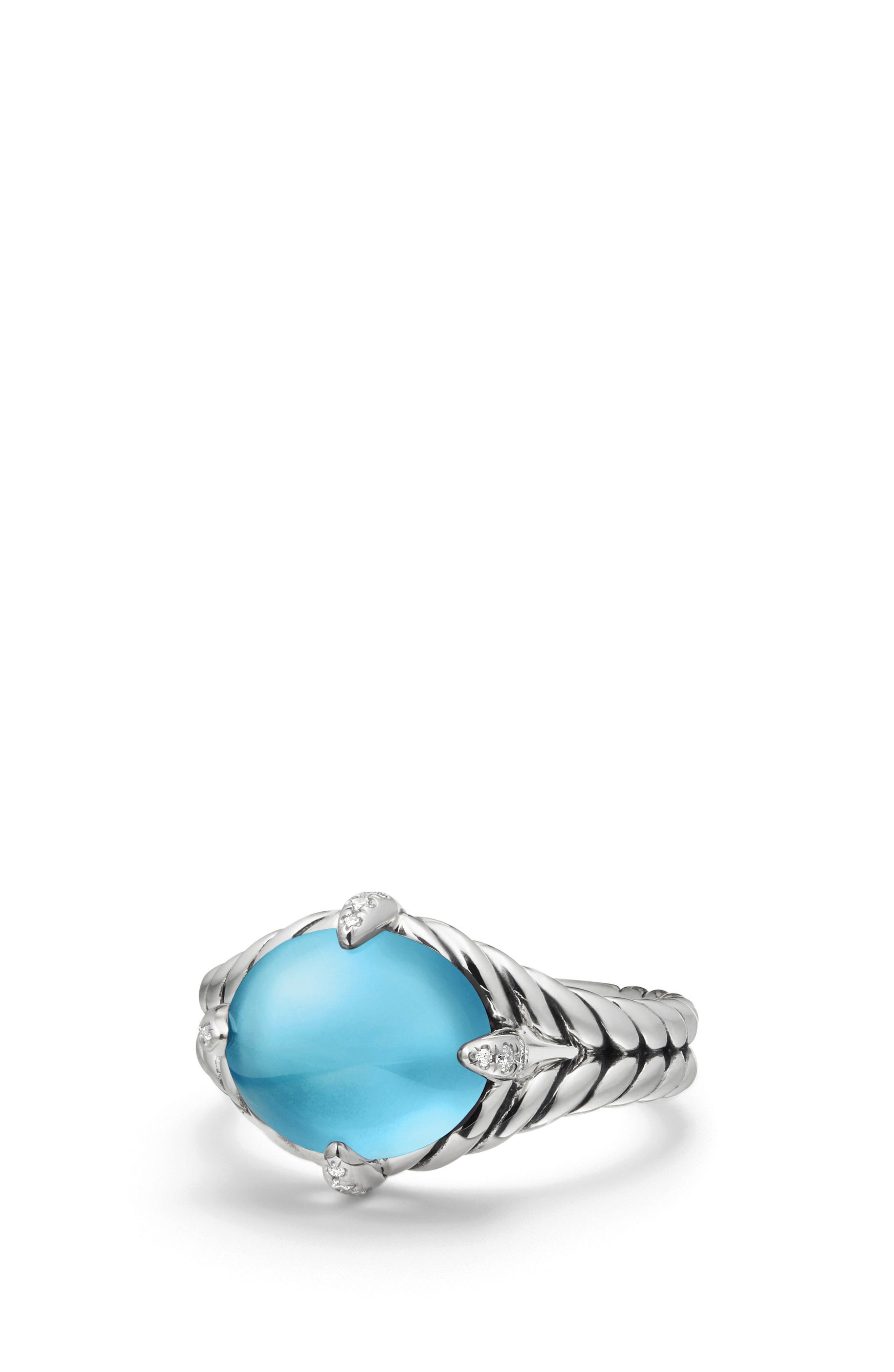 Chatelaine<sup>®</sup> Single Gemstone & Diamond Ring,                             Alternate thumbnail 3, color,                             Silver/ Diamond/ Blue Topaz