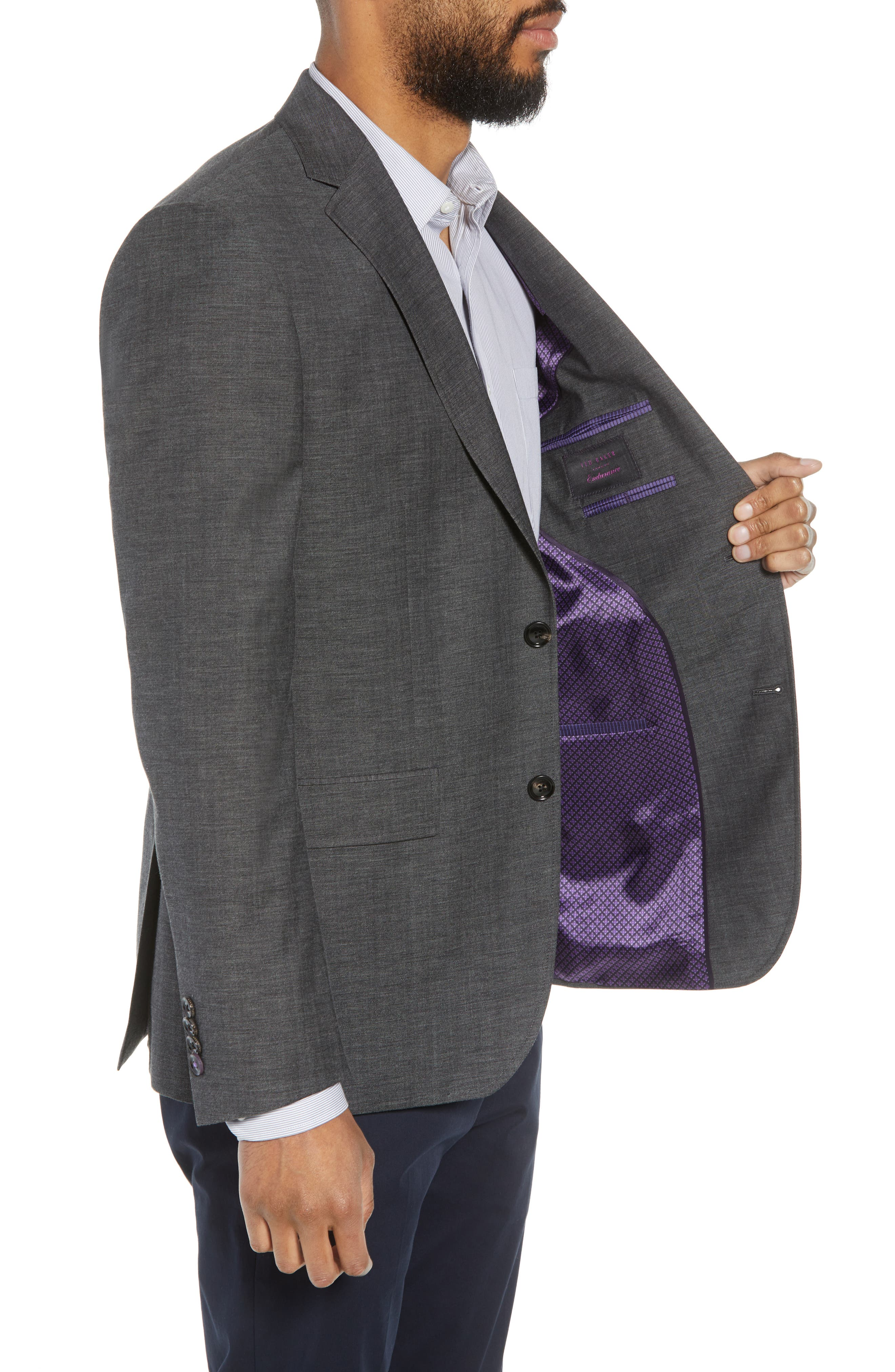 Jay Trim Fit Heathered Wool & Cotton Sport Coat,                             Alternate thumbnail 3, color,                             Grey