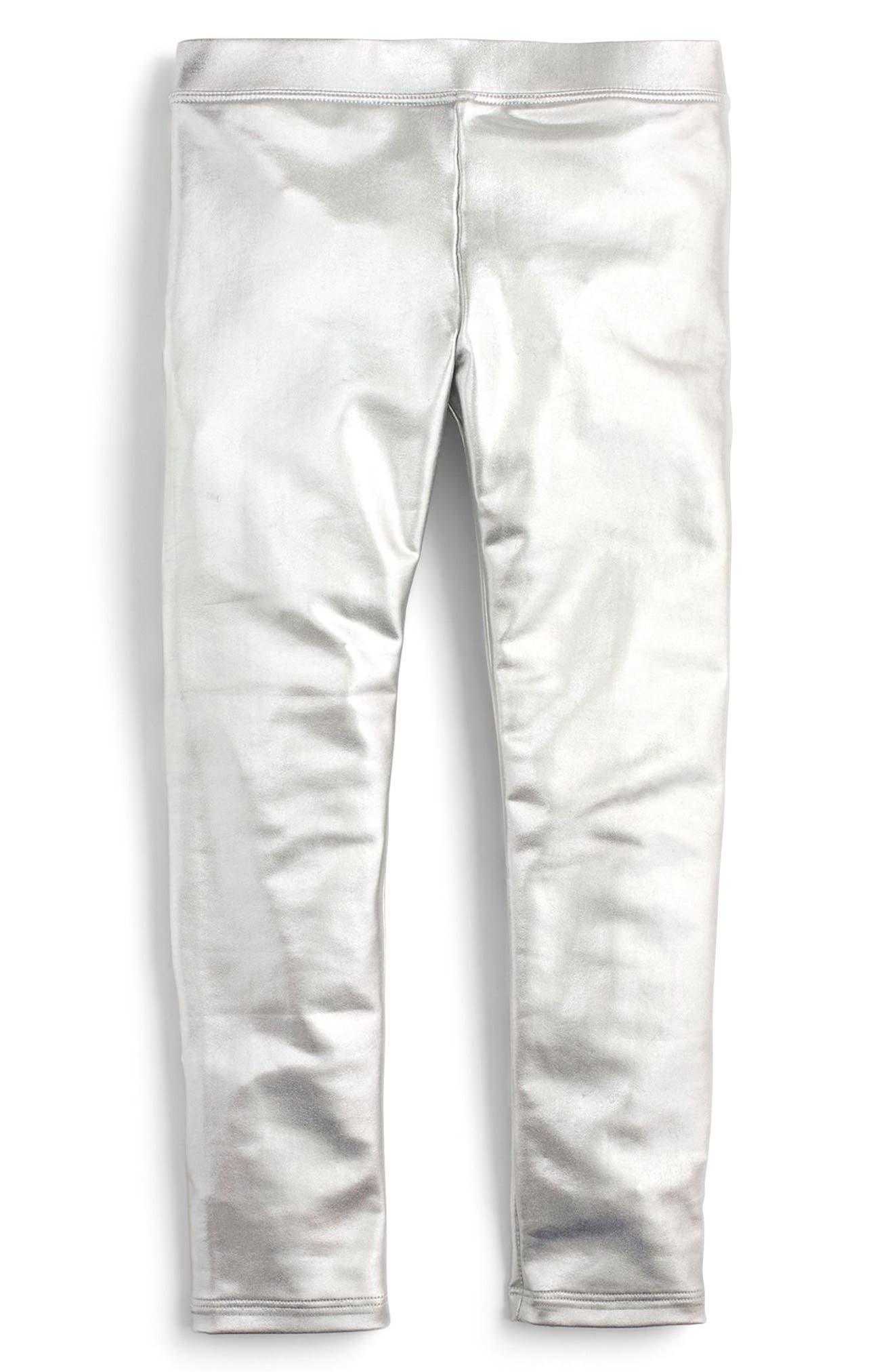 Metallic Leggings,                             Main thumbnail 1, color,                             Silver Ka3441