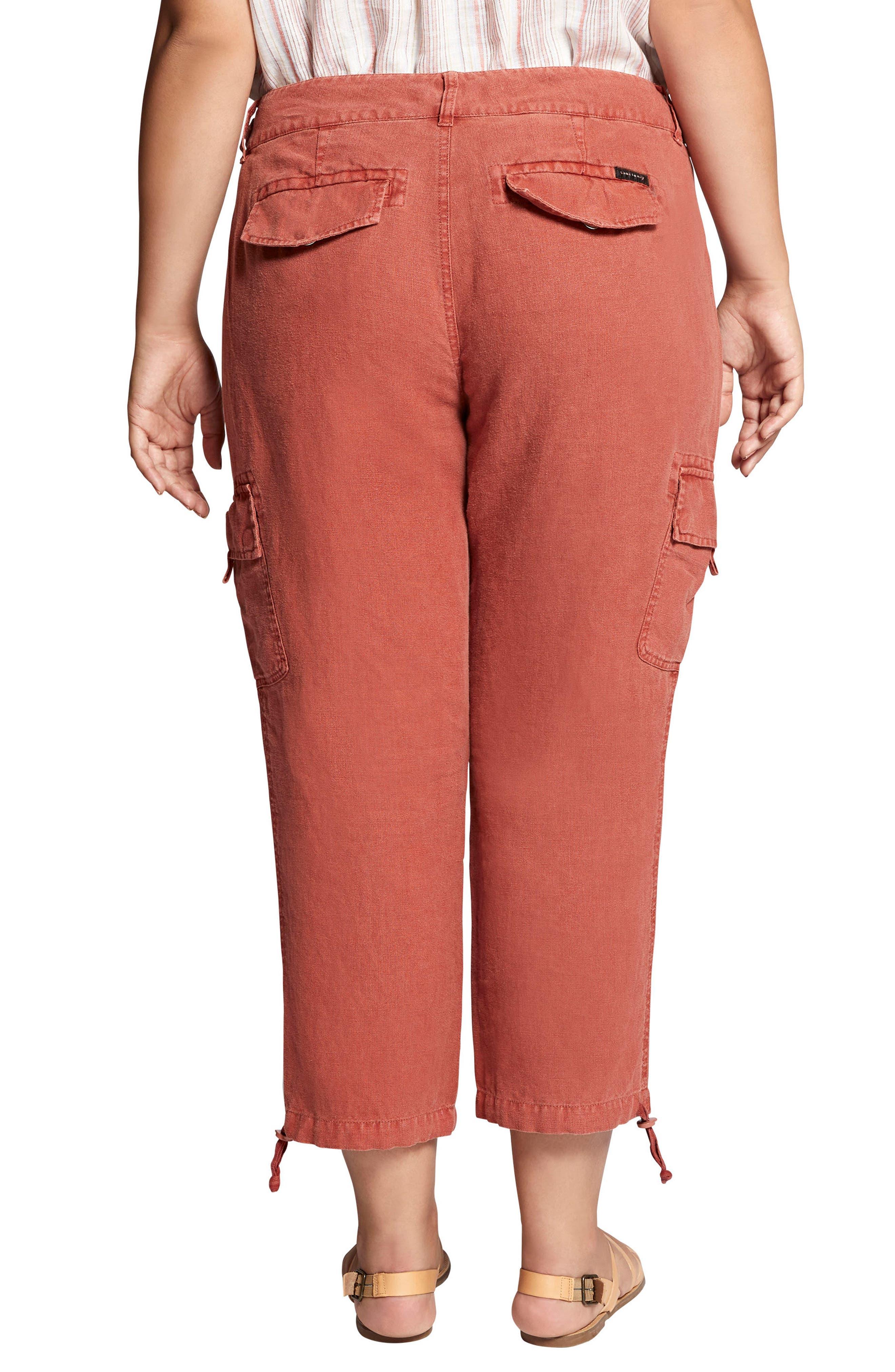 Terrain Crop Linen Cargo Pants,                             Alternate thumbnail 2, color,                             Terra Cotta