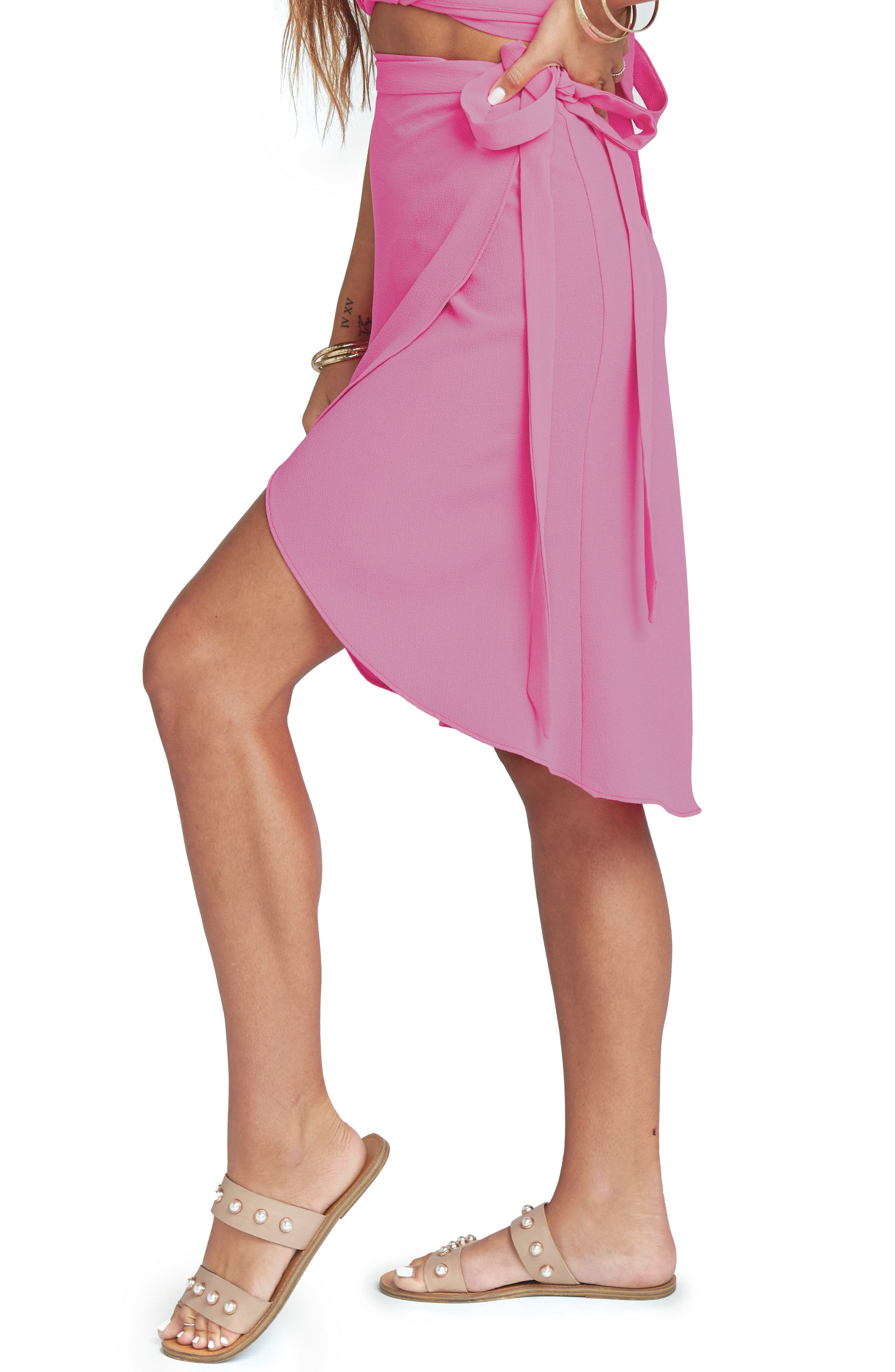 Panama Wrap Skirt,                             Alternate thumbnail 4, color,                             Hot Pink Crinkle Stretch