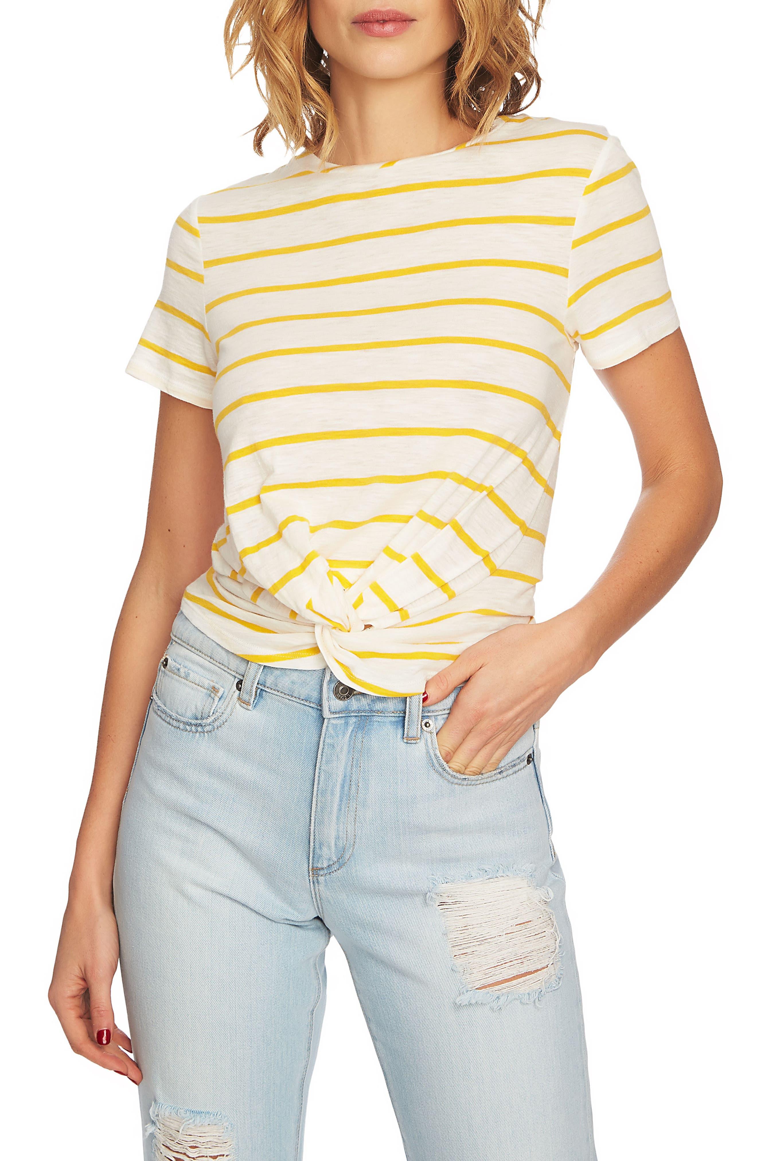 Stripe Twist Front Short Sleeve Tee,                         Main,                         color, Rich Marigold
