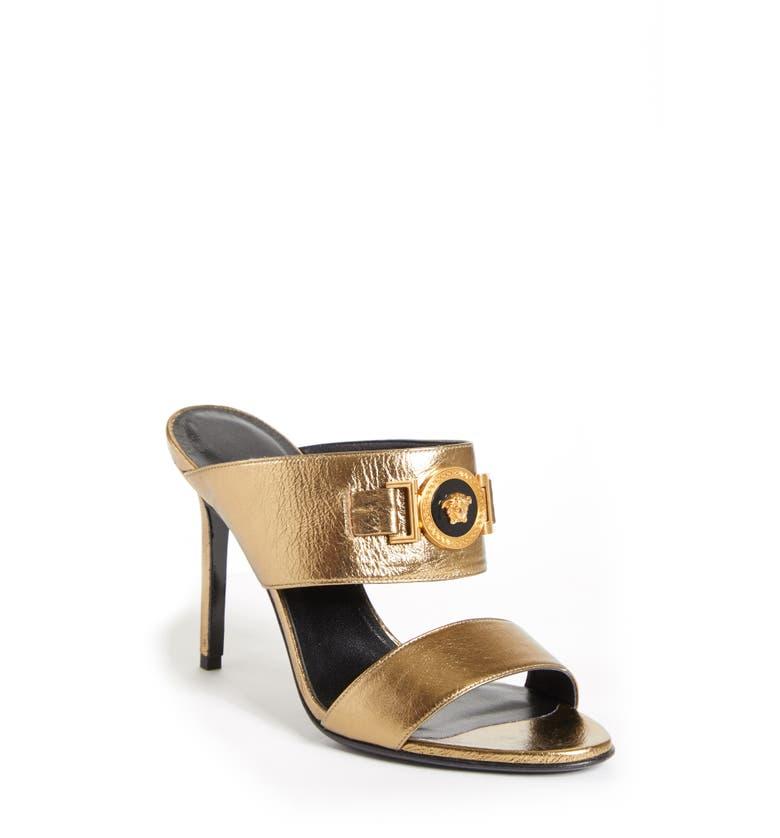 15b90ae03 Versace Icon Medusa Metallic Leather Mule Slide Sandals In Gold ...