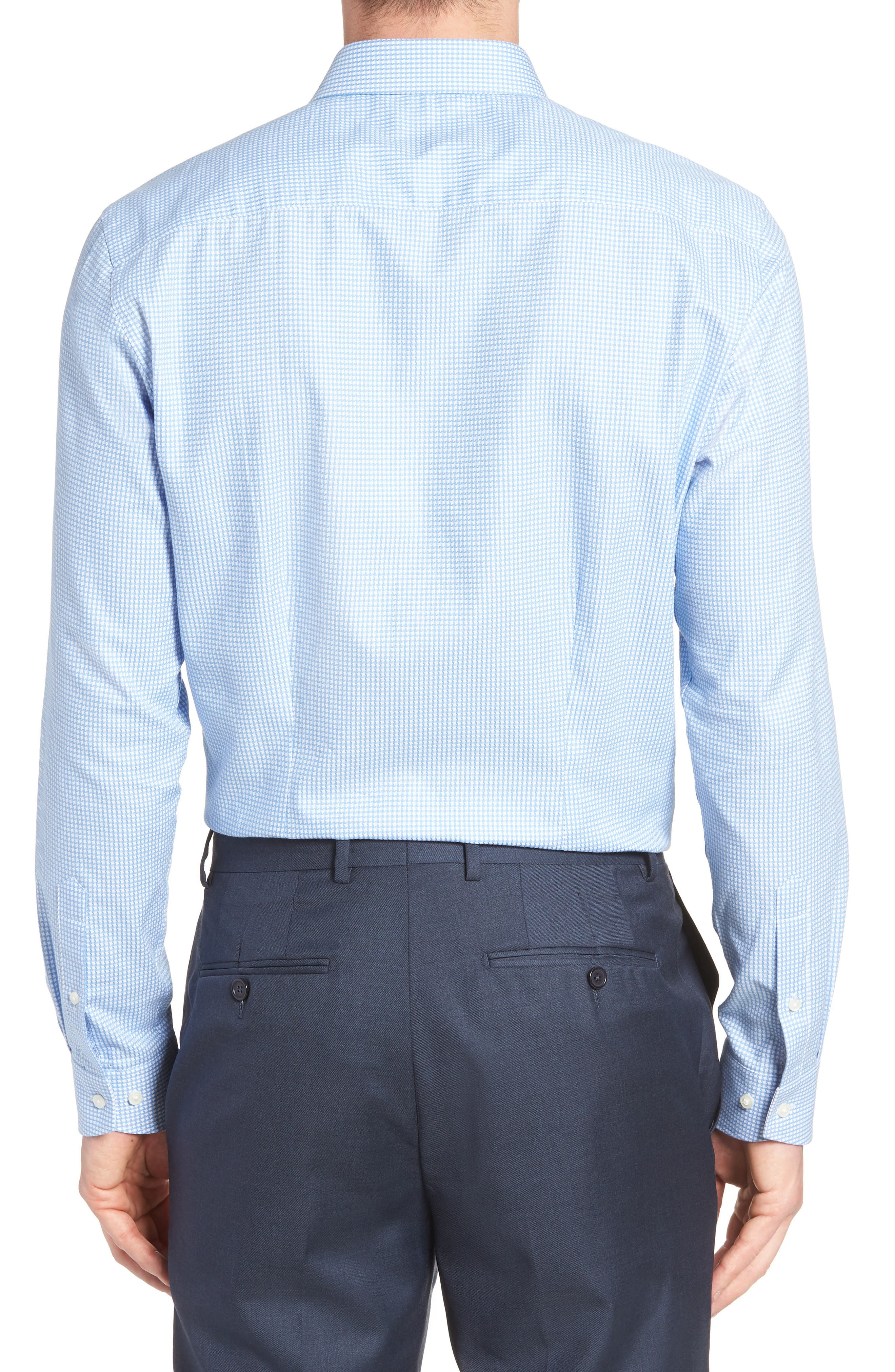 Jaiden Trim Fit Houndstooth Dress Shirt,                             Alternate thumbnail 3, color,                             Light Blue