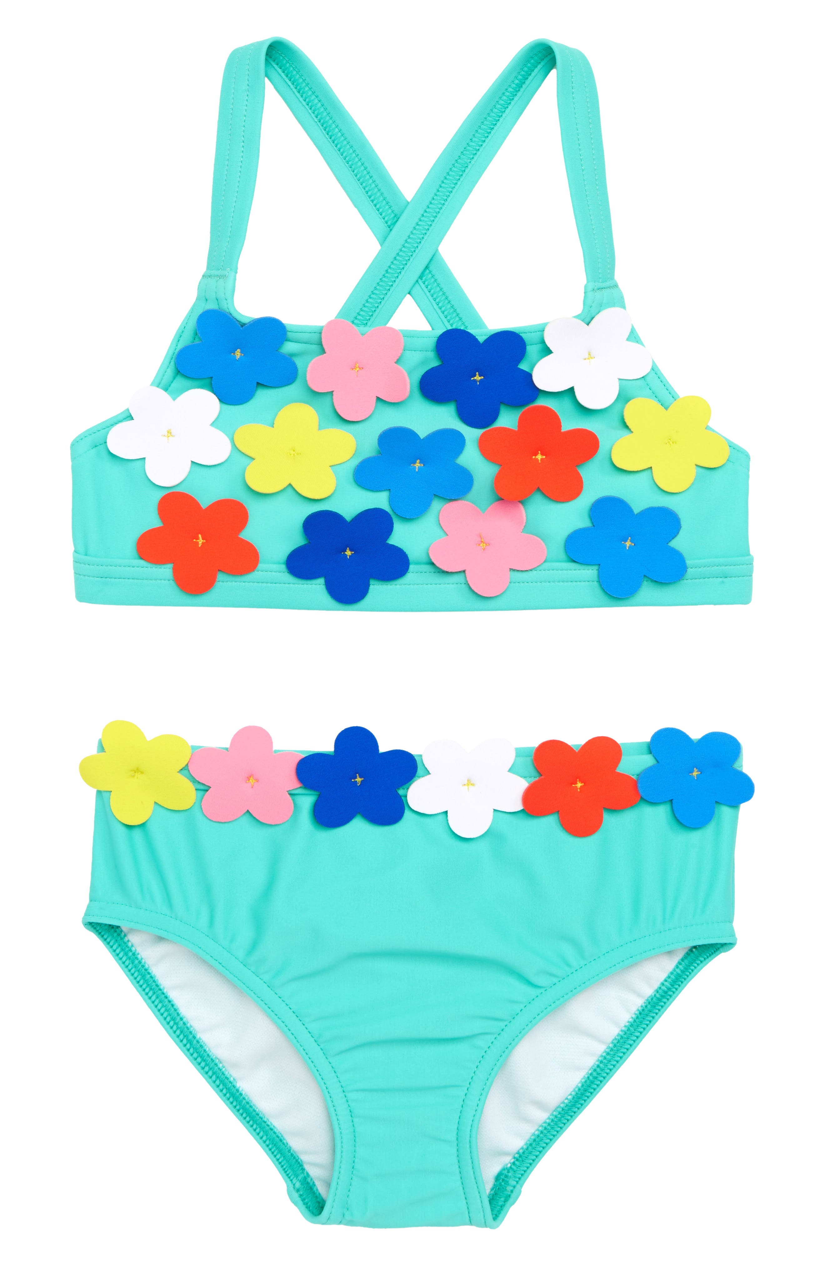 Mini Boden Flowery Two-Piece Swimsuit (Toddler Girls, Little Girls & Big Girls)