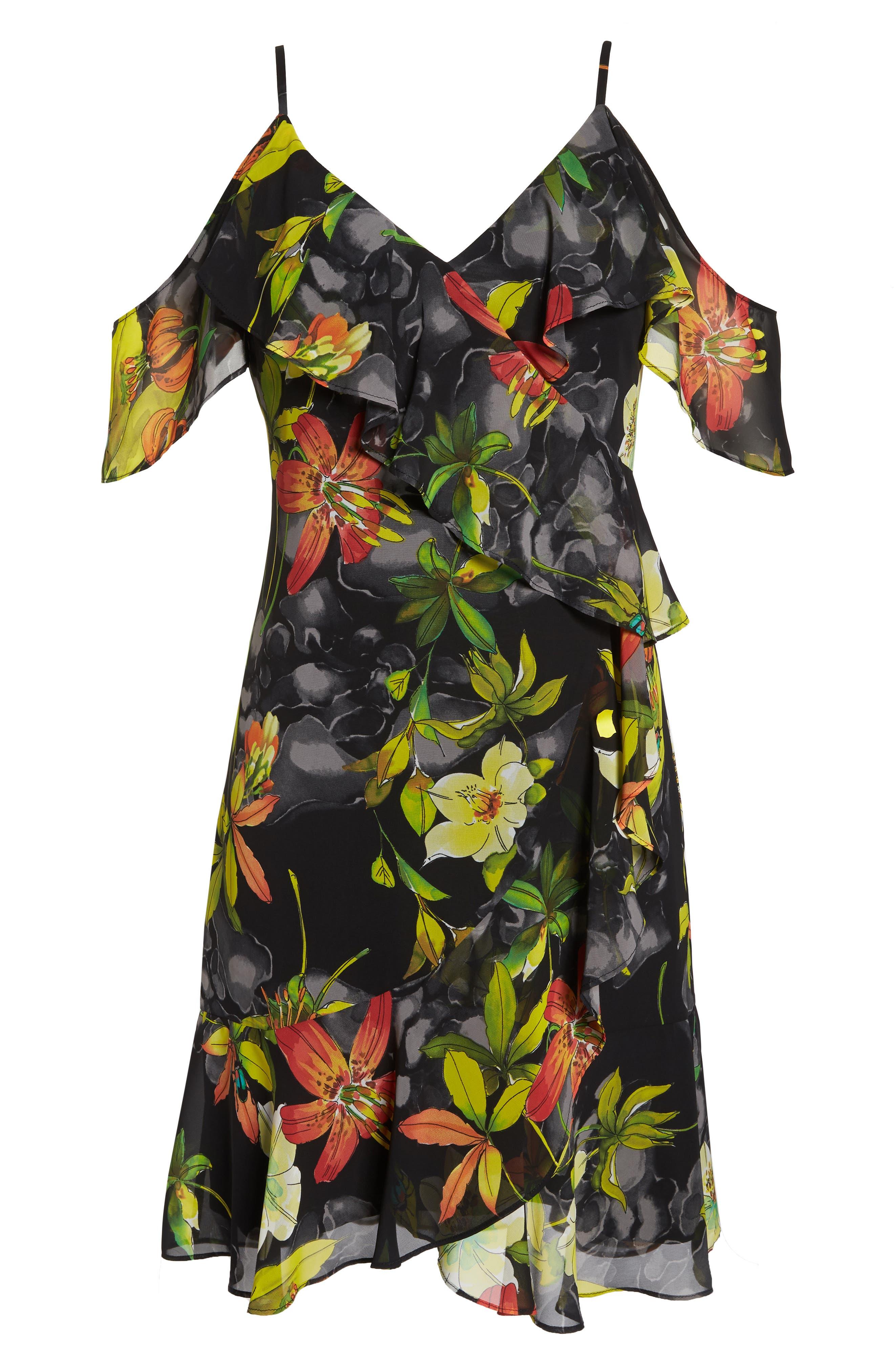 Print Cold Shoulder Chiffon Dress,                             Alternate thumbnail 7, color,                             Black/ Red