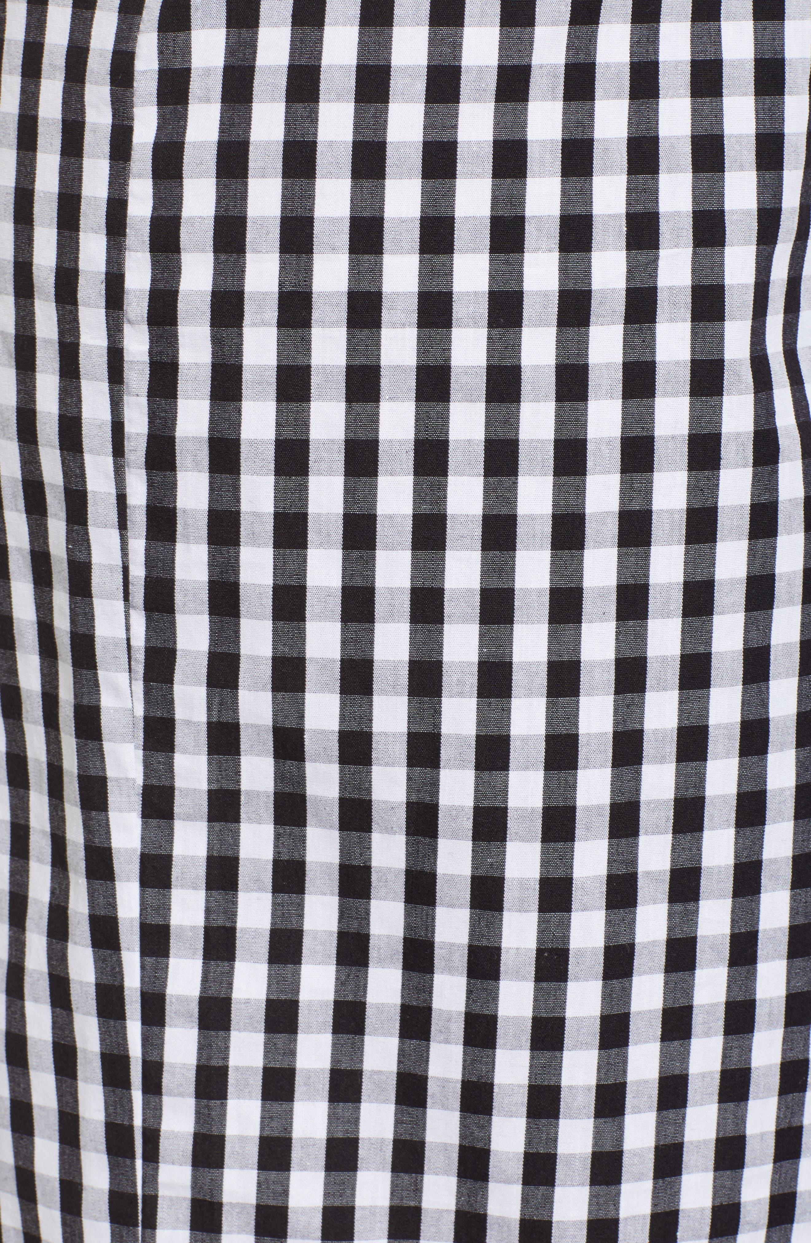 Gingham Tie Waist Skirt,                             Alternate thumbnail 5, color,                             Black/ White Gingham
