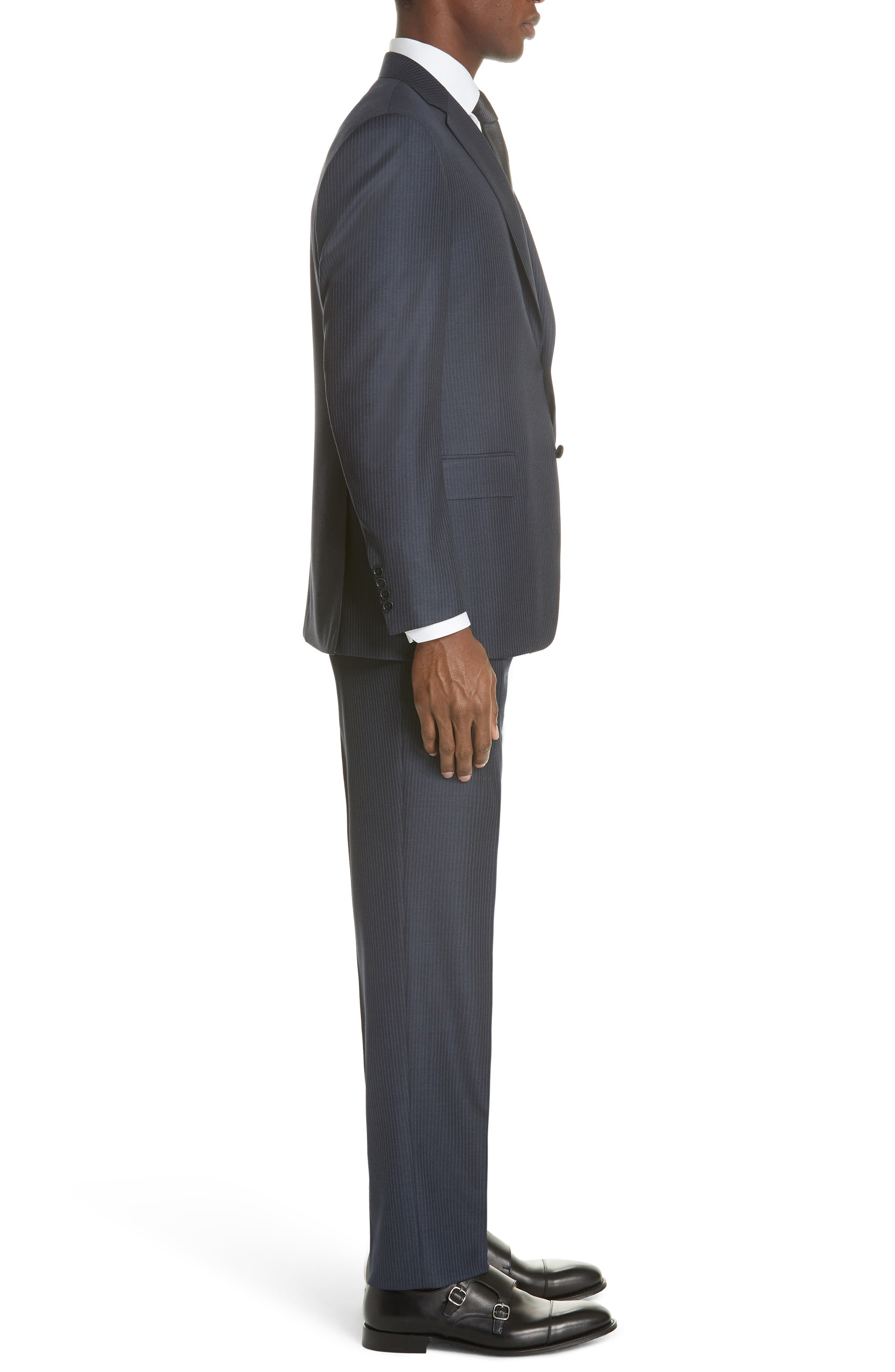 Classic Fit Pinstripe Wool Suit,                             Alternate thumbnail 3, color,                             Navy