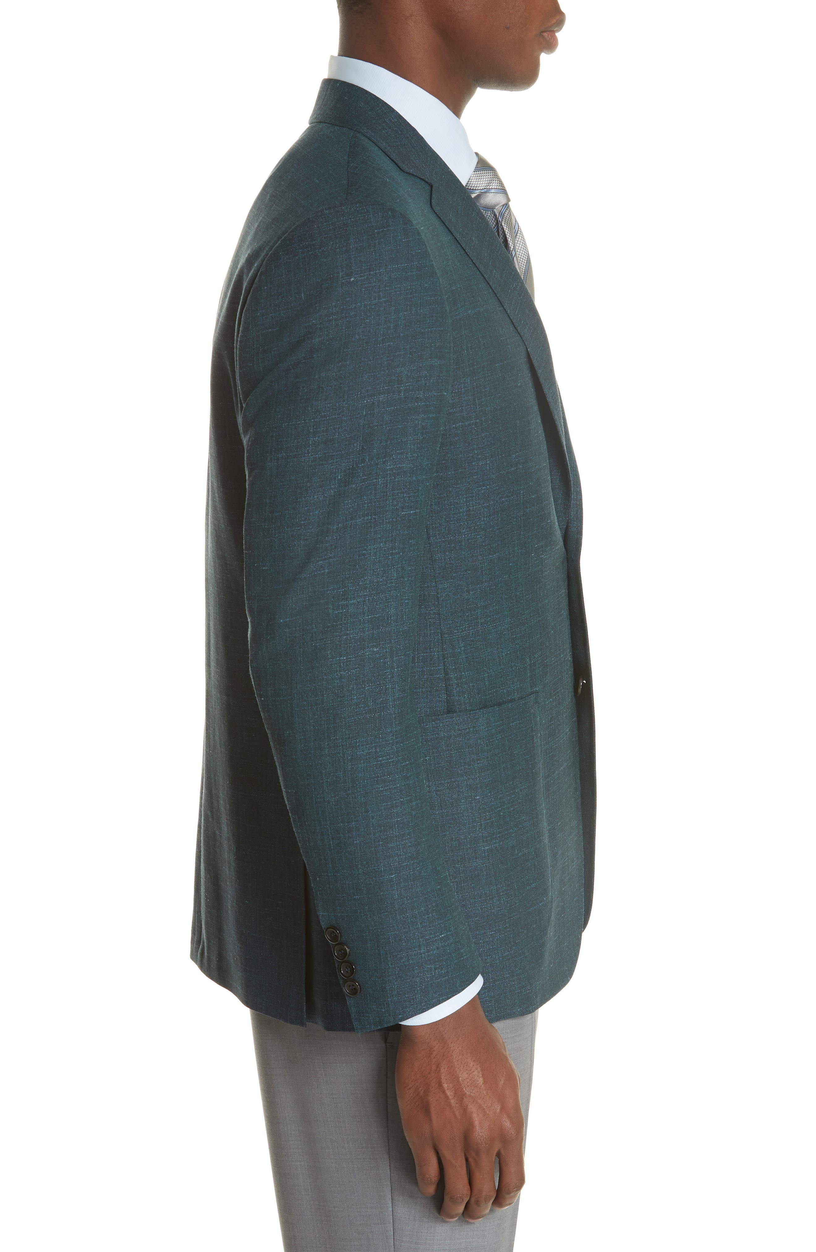 Classic Fit Wool Blend Blazer,                             Alternate thumbnail 3, color,                             Green